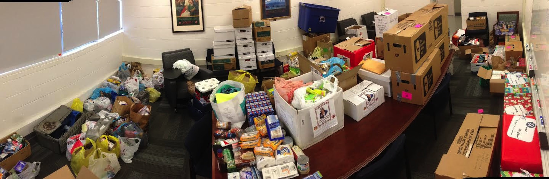 A photo of the food donated from several different University of Connecticut departments. (Photos courtesy of Veterans Affairs and Military Programs)
