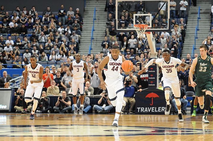 Pictured: UConn's Rodney Purvis (44) vs USF opponents March. 12, 2015 at the XL Center in Hartford. The Huskies won 69-43. (File photo/ The Daily Campus)
