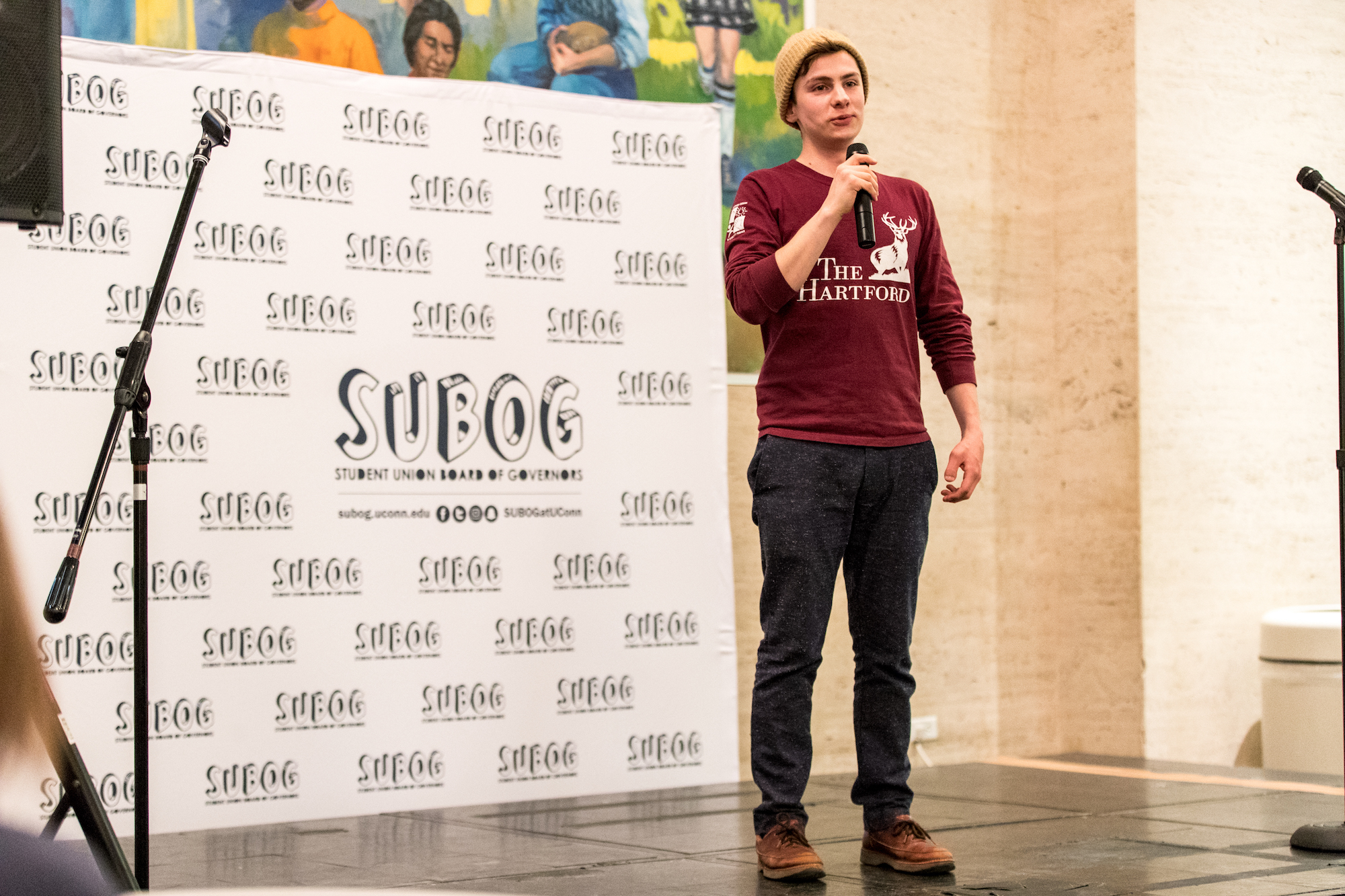 UConn student Scott Bosco (9th semester Biology major) performs stand-up comedy for the SUBOG Open Mic night in the North Lobby of the UConn Student Union in Storrs, CT on Wednesday, Jan 25, 2017. (Owen Bonaventura/The Daily Campus)