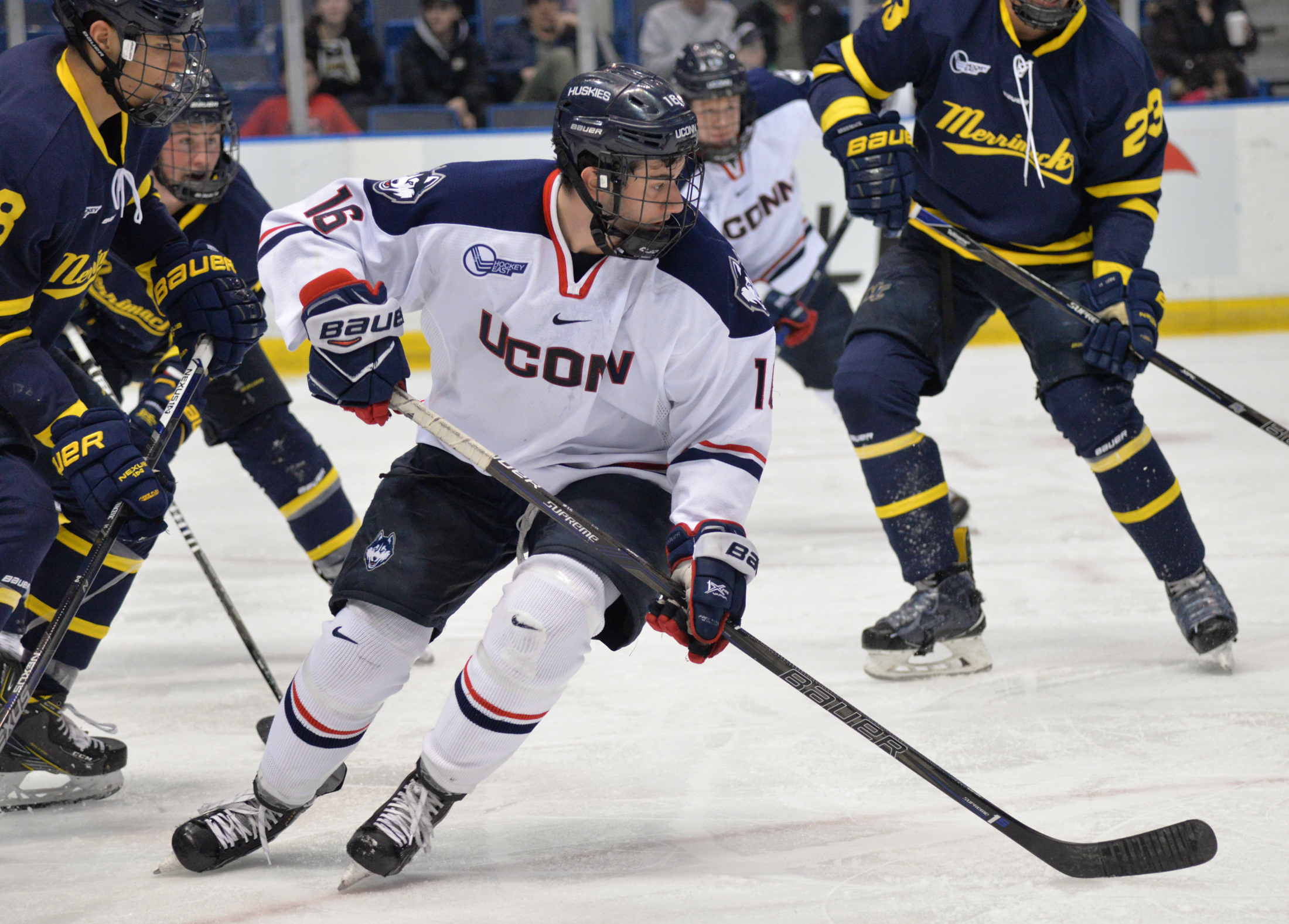 Karl El-Mir looks for a pass in Saturday's game against Merrimack. The Huskies tied the Warriors 2-2 at the XL Center. (Amar Batra/The Daily Campus)