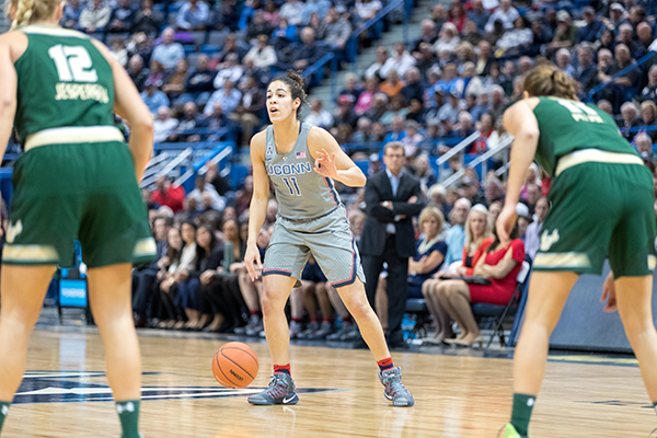 UConn women played USF on Jan. 10, 2017. USF lost 37-102 one of the losses that contributed to their drop in rank over the past few weeks. (Owen Bonaventura/ The Daily Campus)