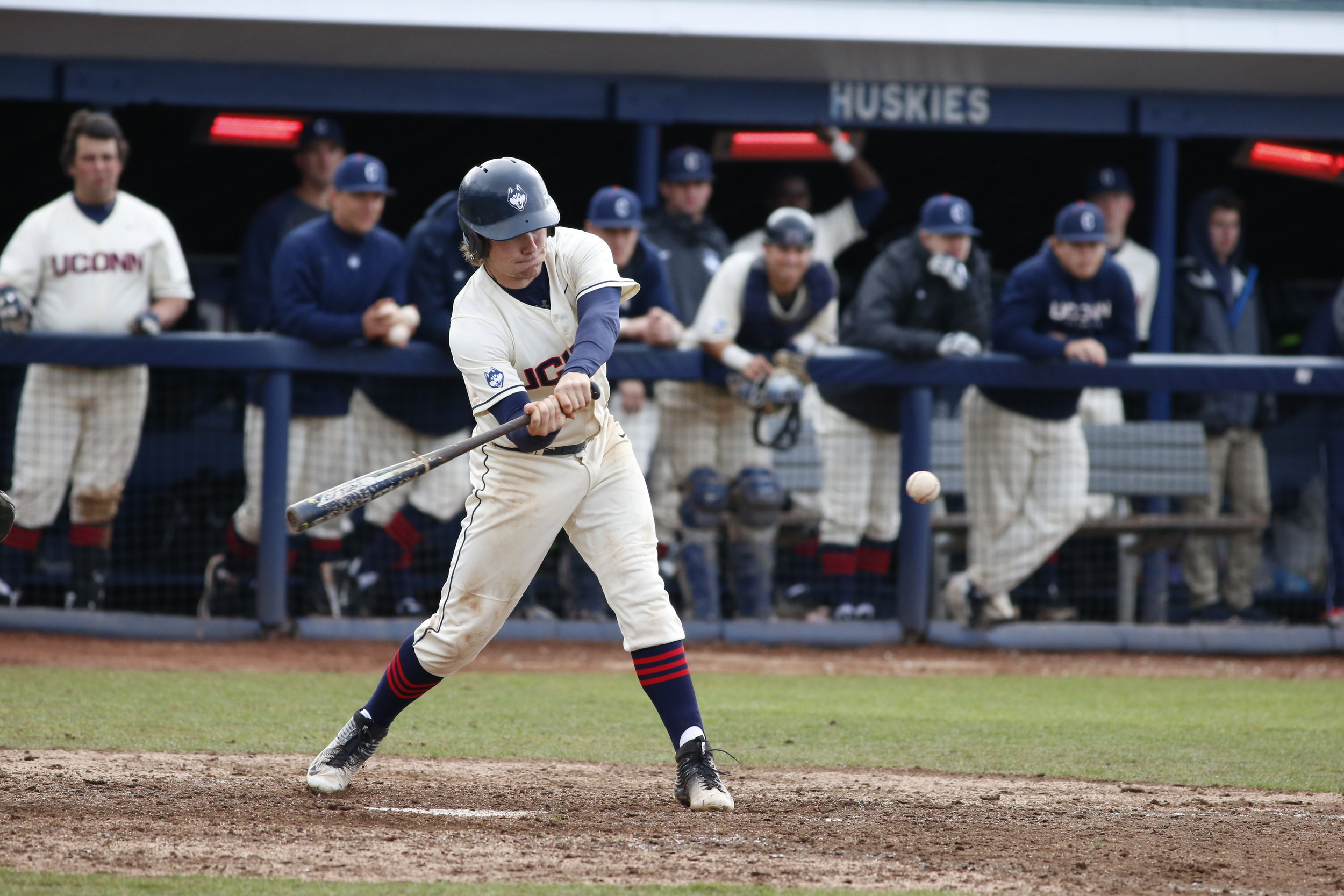 Willy Yahn swings the bat during the Huskies' 14-9 loss to Tulane on Saturday, April 2, 2016. Yahn is expected to miss 4-5 weeks after re-injuring his right hand. (Tyler Benton/The Daily Campus)
