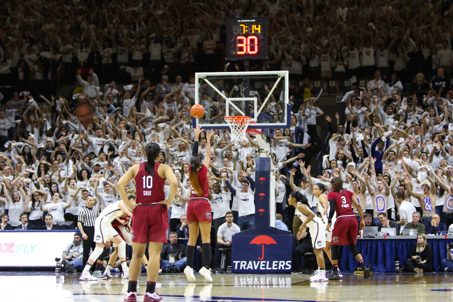 The student section attempts to distract South Carolina's A'ja Wilson while shooting a free throw. (Jackson Haigis/The Daily Campus)