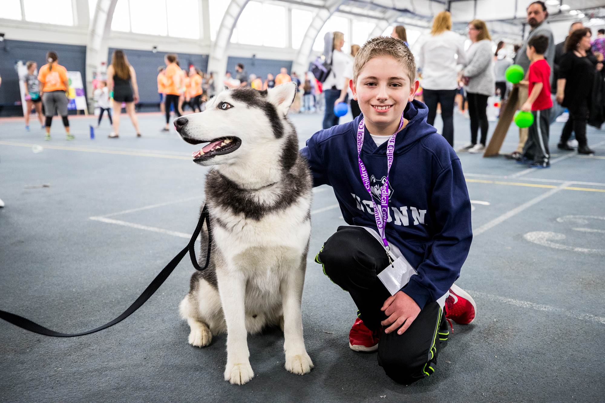 Jonathan the husky, UConn's famed mascot, pictured at HuskyTHON.  The UConn trademark capitalization has been misunderstood by many.  (Owen Bonaventura/ The Daily Campus)
