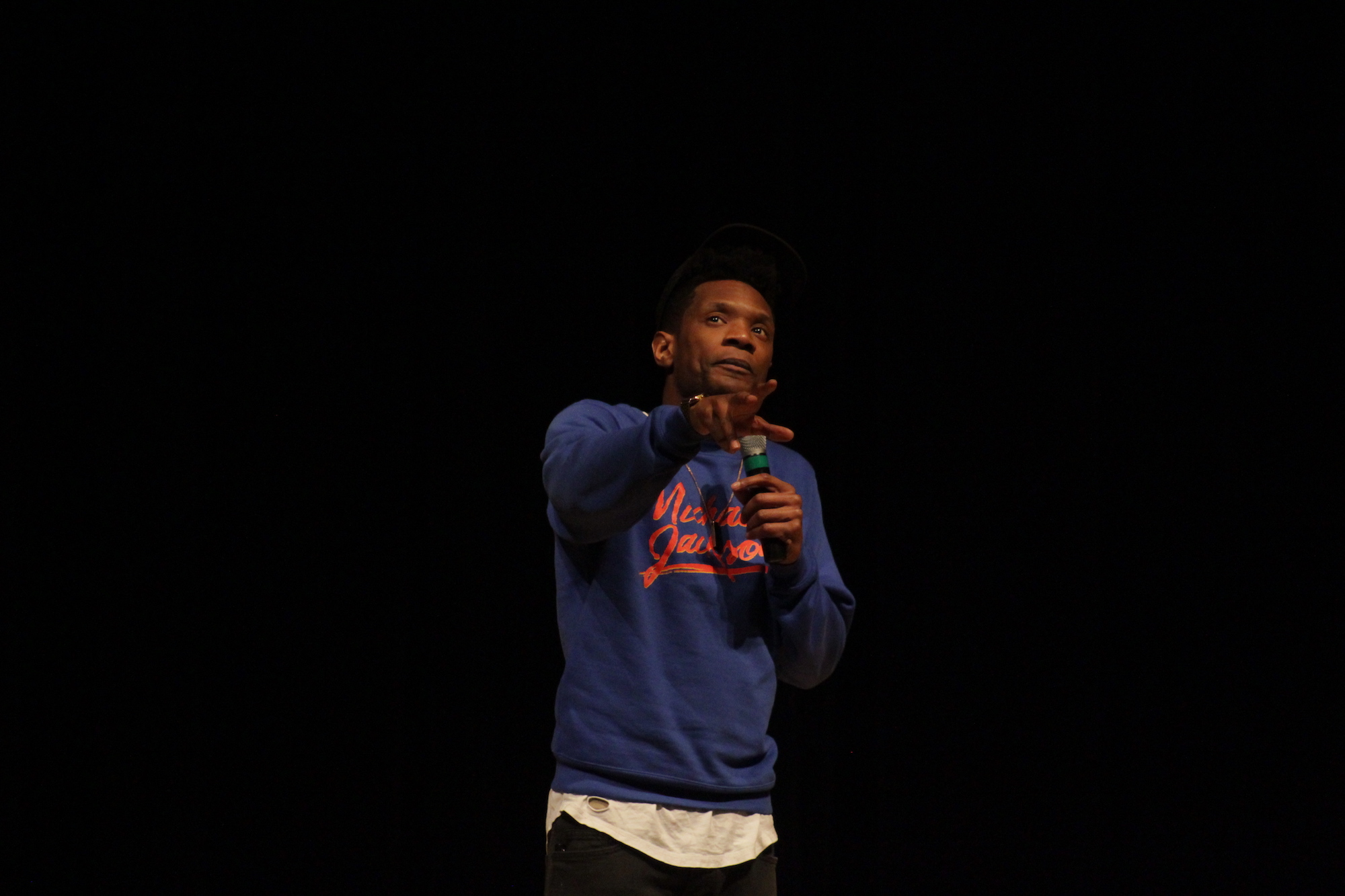"""Comedian Seaton Smith performed in the Student Union theater Wednesday, March 1 as a part of SUBOG's comedy series. He has appeared on well-known comedy shows like """"Late Night with Sethy Meyers,"""" """"Inside Amy Schumer"""" and """"The Nightly Show."""" (Jordan Richardson/The Daily Campus)"""