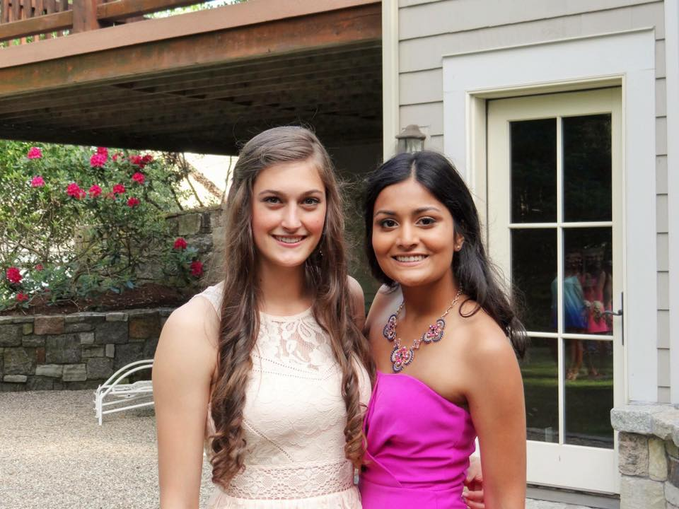 Elena Pevar, a third-semester nutritional sciences major who knew Jeffny Pally since 6th grade, is pictured here with Pally before senior prom at Hall High School in West Hartford in June of 2015. (Courtesy/Elena Pevar)