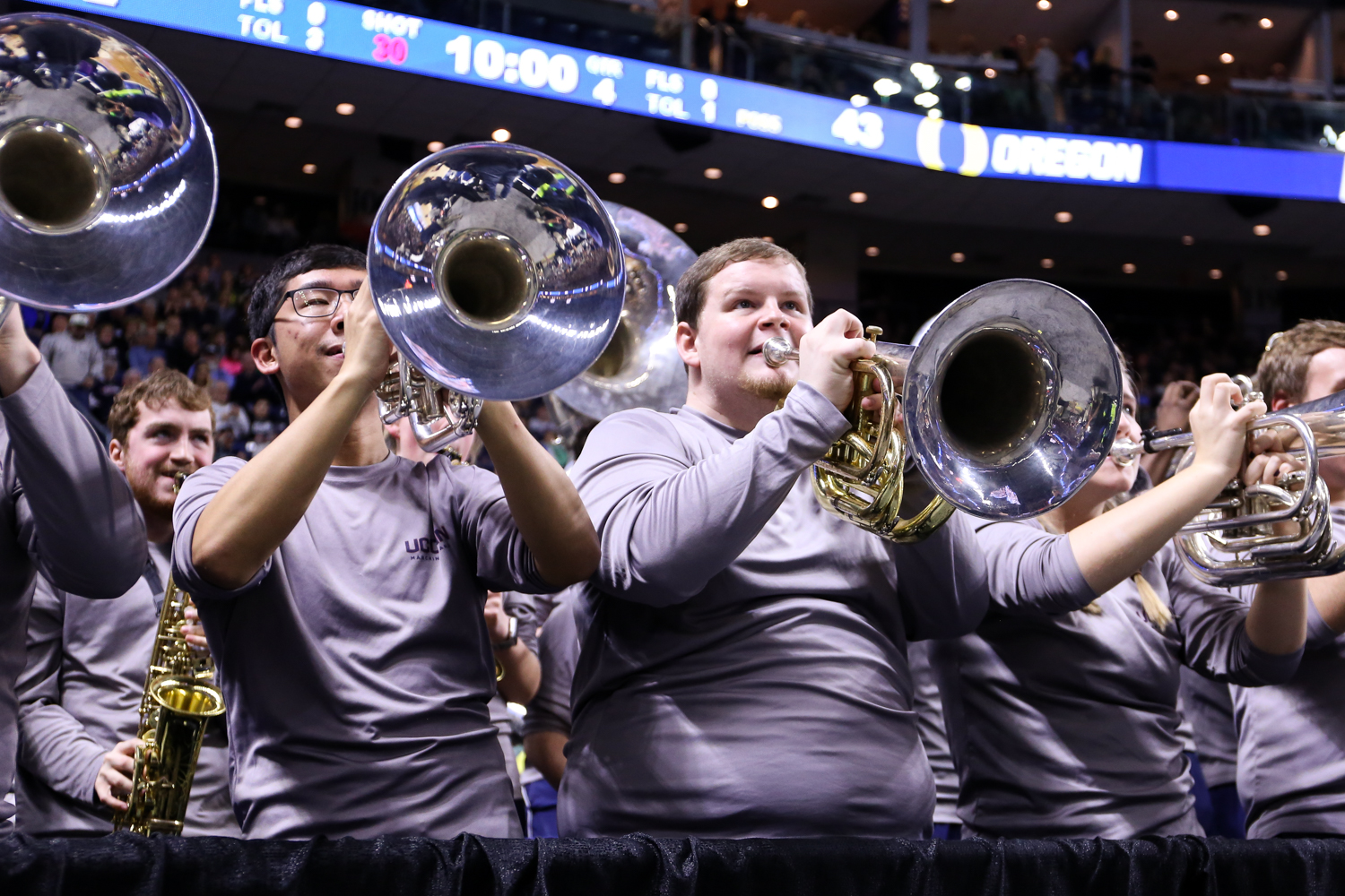 Members of the UConn pep band perform during a timeout.
