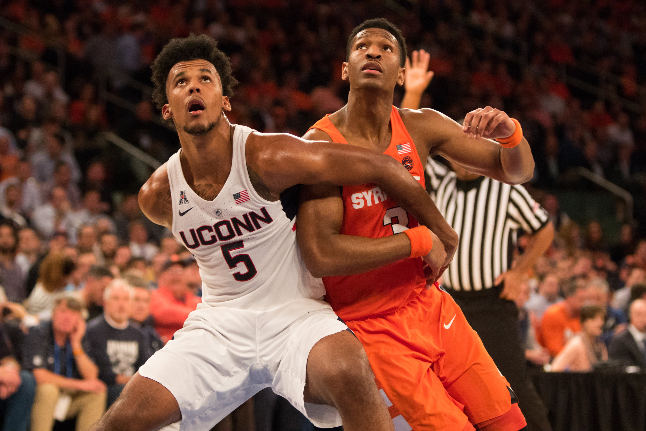 UConn forward Vance Jackson tries to get position against a Syracuse defender during a game at Madison Square Garden in New Yok, N.Y. on Dec. 5, 2016. (Jackson Haigis, Photo Editor/The Daily Campus)