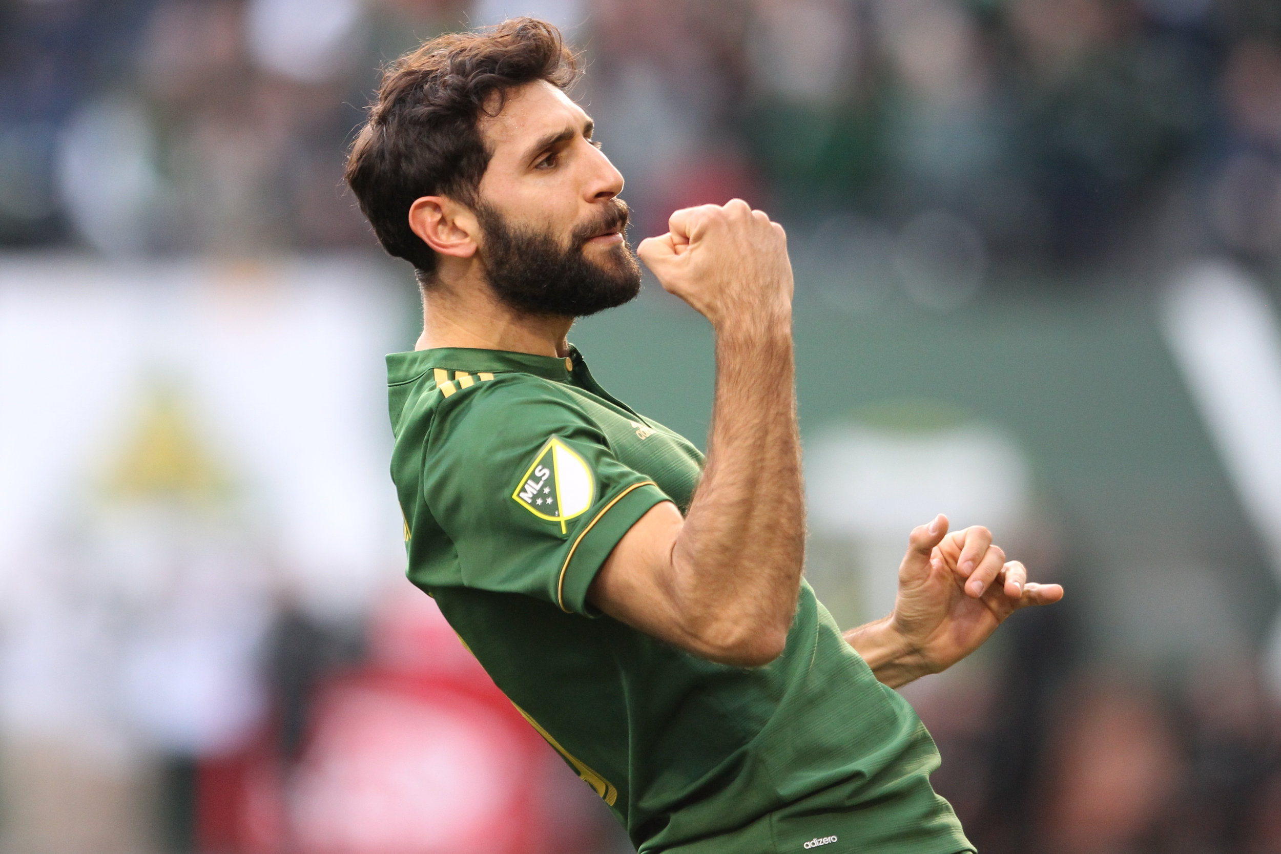 Portland Timbers' Diego Valeri celebrates after scoring a goal in the first half against the New England Revolution during an MLS soccer match Sunday, April 2, 2017, at Providence Park in Portland, Ore. (Pete Christopher/The Oregonian via AP)