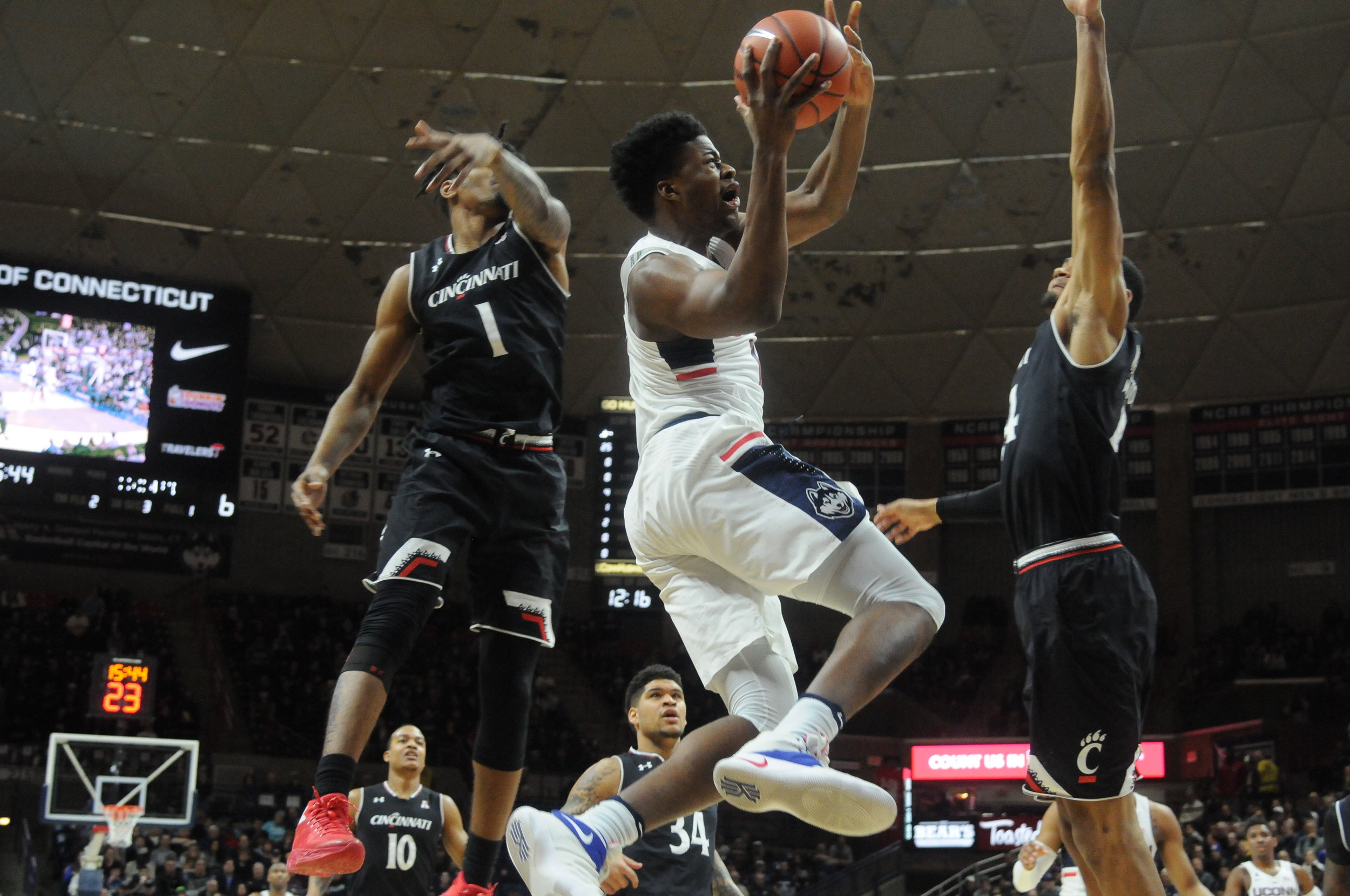 Steve Enoch (picture in white above) is one of the UConn basketball players who have recently announced their intentions to transfer. (Amar Batra/The Daily Campus)