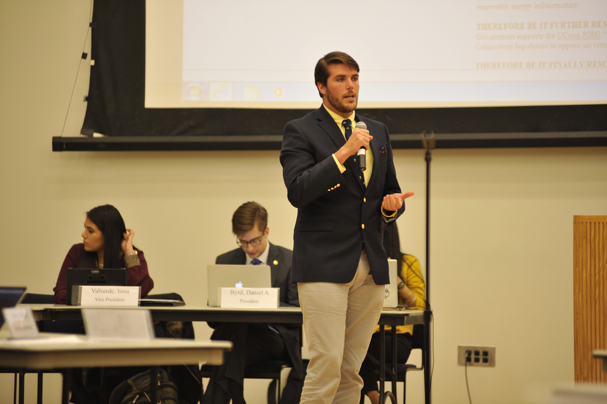 USG senate meeting took place in Student Union ballroom on Wednesday, April. 5 2017. Bills about supporting environmental policy in UConn 2020 Vision and Legality of cannabis in CT was discussed during the meeting. (Jason Jiang/ The Daily Campus)