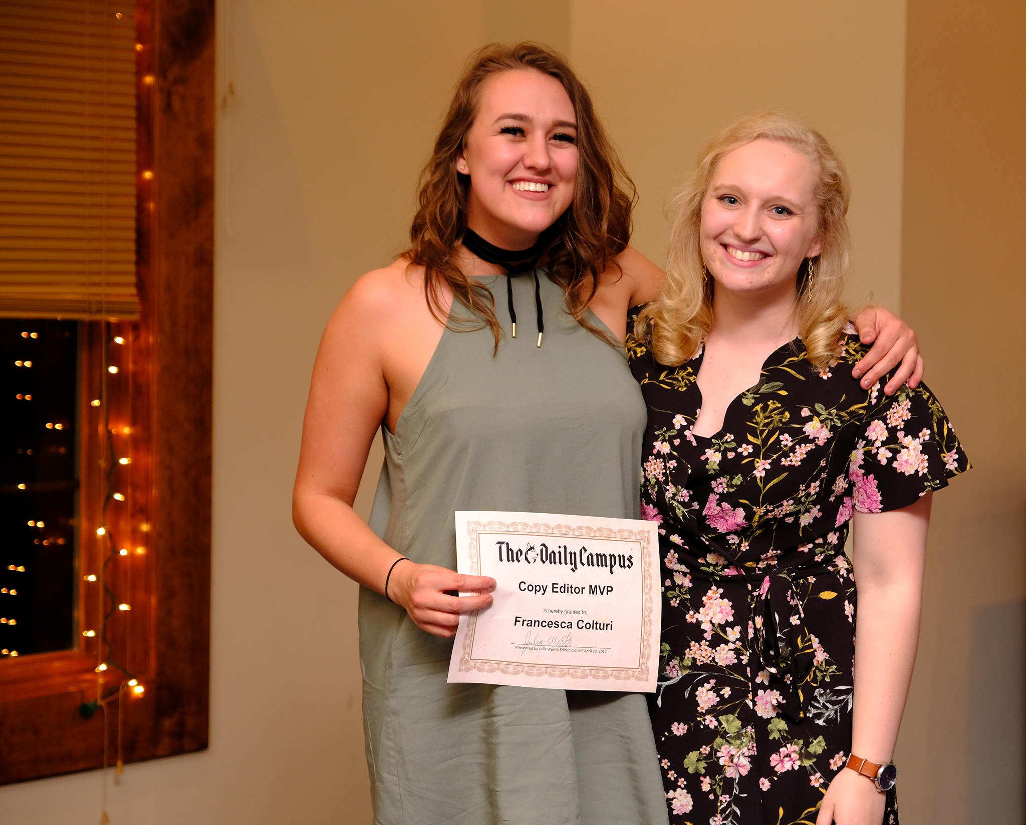 Francesca Colturi, the outgoing associate life editor, and Bailey Wright at the 2017 Daily Campus banquet. (Photo Courtsey Ellen Yang)