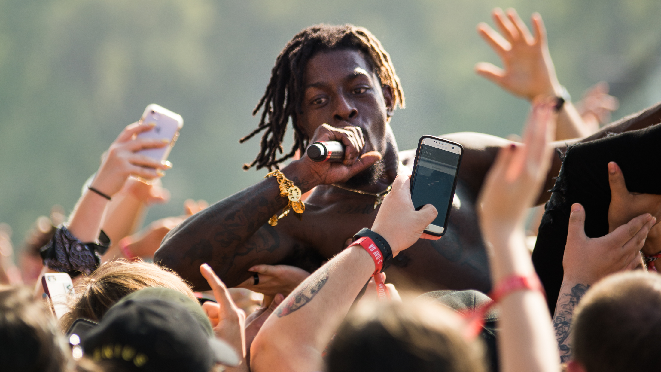 Meechy Darko of Flatbush Zombies crowd surfs and raps during his set on day two of The Meadows Music and Art Festival at Citi Field on Sat. Sept. 16, 2017. (Amar Batra/The Daily Campus)