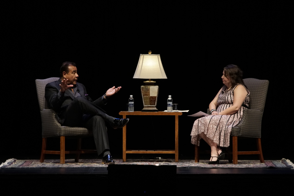 """PRLACC invites John Quinones, the host of """"What would you do?"""" comes to UConn to speak about his life experiences from working as a child labor to being with ABC. (Eric Wang/The Daily Campus)"""