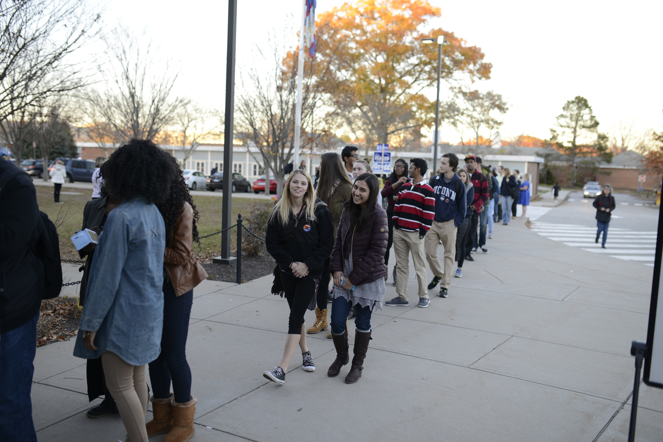Students wait in line to vote outside the Mansfield Community Center on Tuesday, Nov. 8, 2016. (Jason Jiang/The Daily Campus)