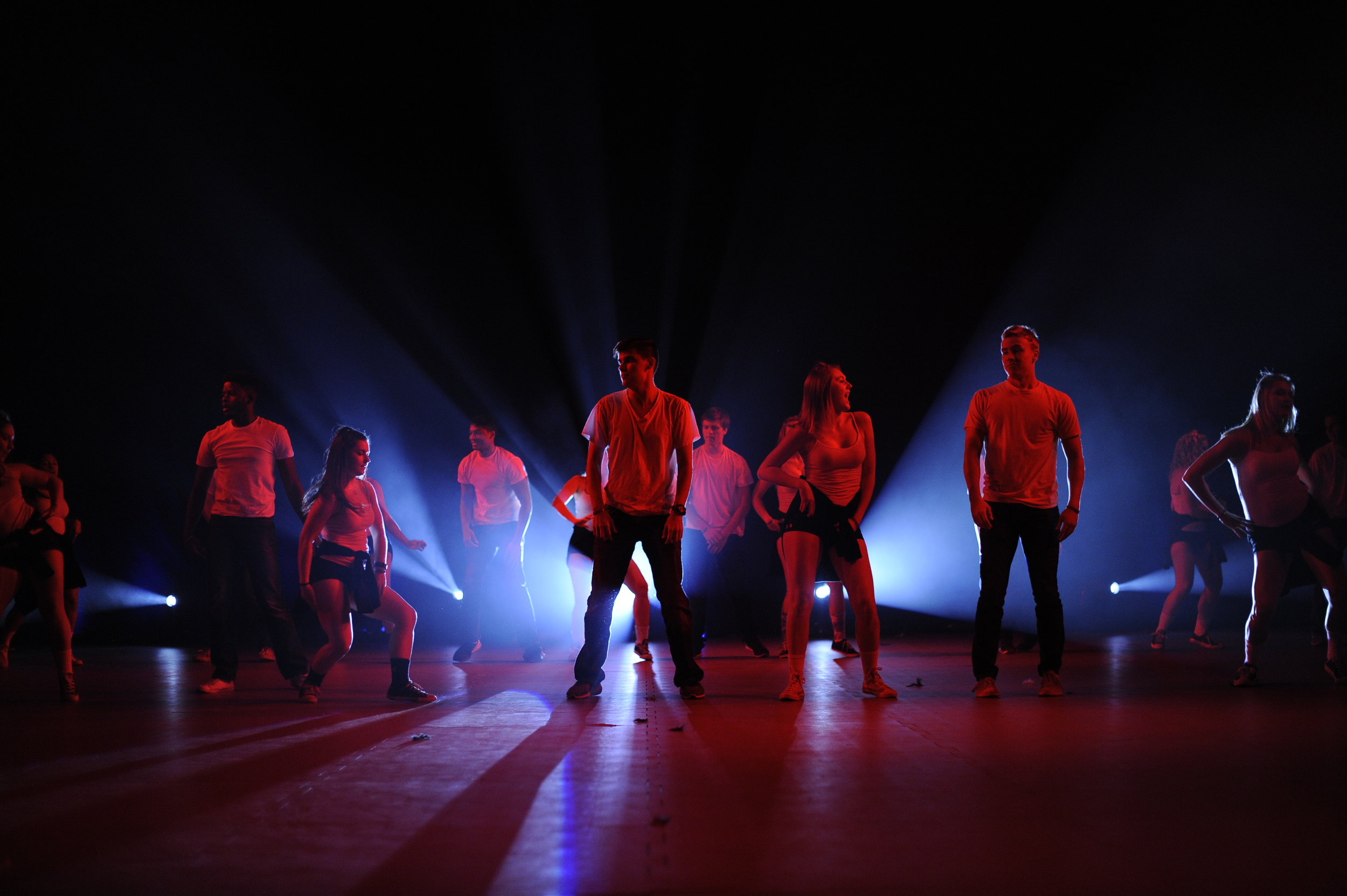 One of the groups from the 2016 Homecoming Lip Syncing competition perfoming in Gampel Pavilon. (Jason Jiang/The Daily Campus)