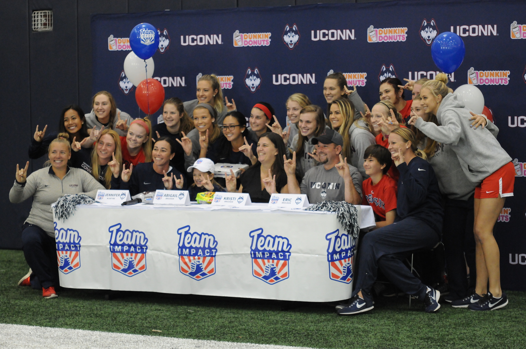 11-year-old leukemia patient Abigail  Brouker put pen to paper and officially became part of the UConn Softball team on Wednesday afternoon. (Olivia Stenger/The Daily Campus)
