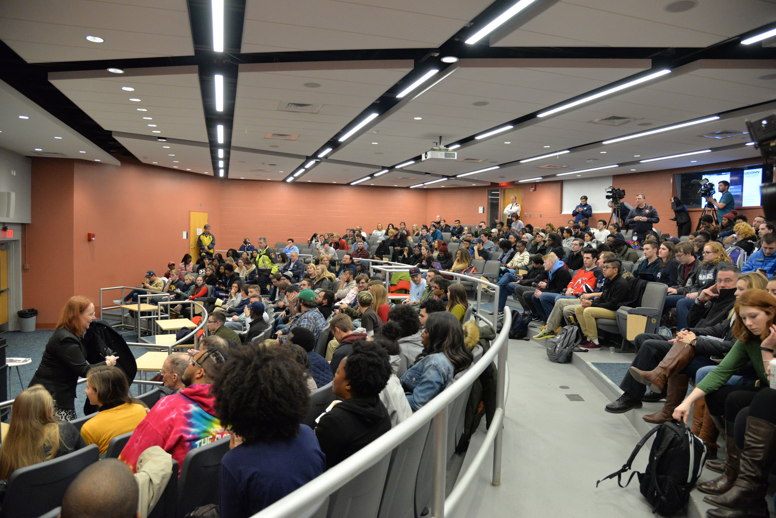 "The UConn College Republicans brought in White House correspondent Lucian Wintrich from The Gateway Pundit for a lecture titled, ""It's ok to be white."" Schenker Hall was packed with both supporters and protesters. (Amar Batra/The Daily Campus)"