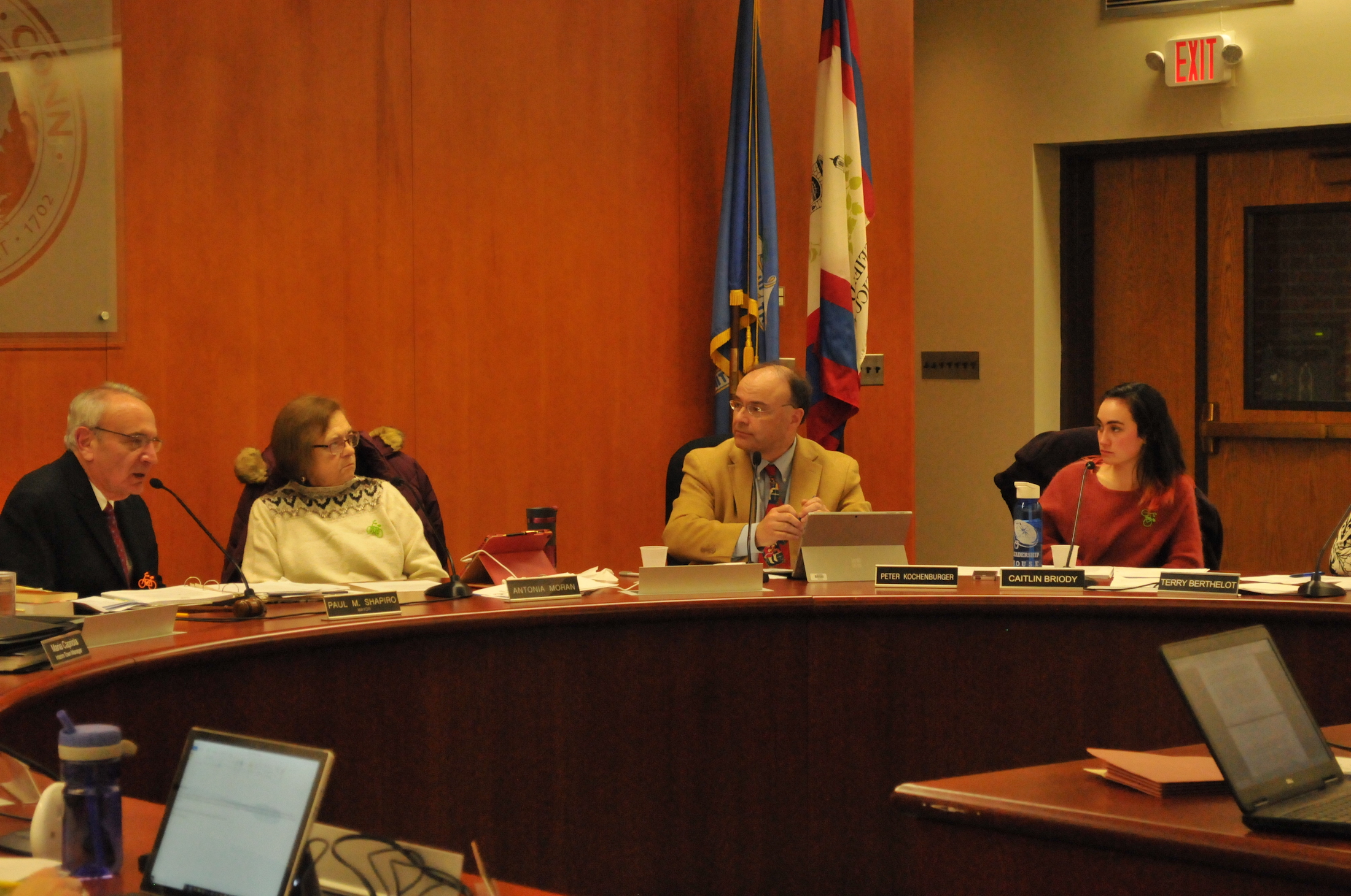 Mansfield Town Council Members discuss concerns over several town ordinances at the Mansfield Town Council on Monday. (Ryan Murace/The Daily Campus)