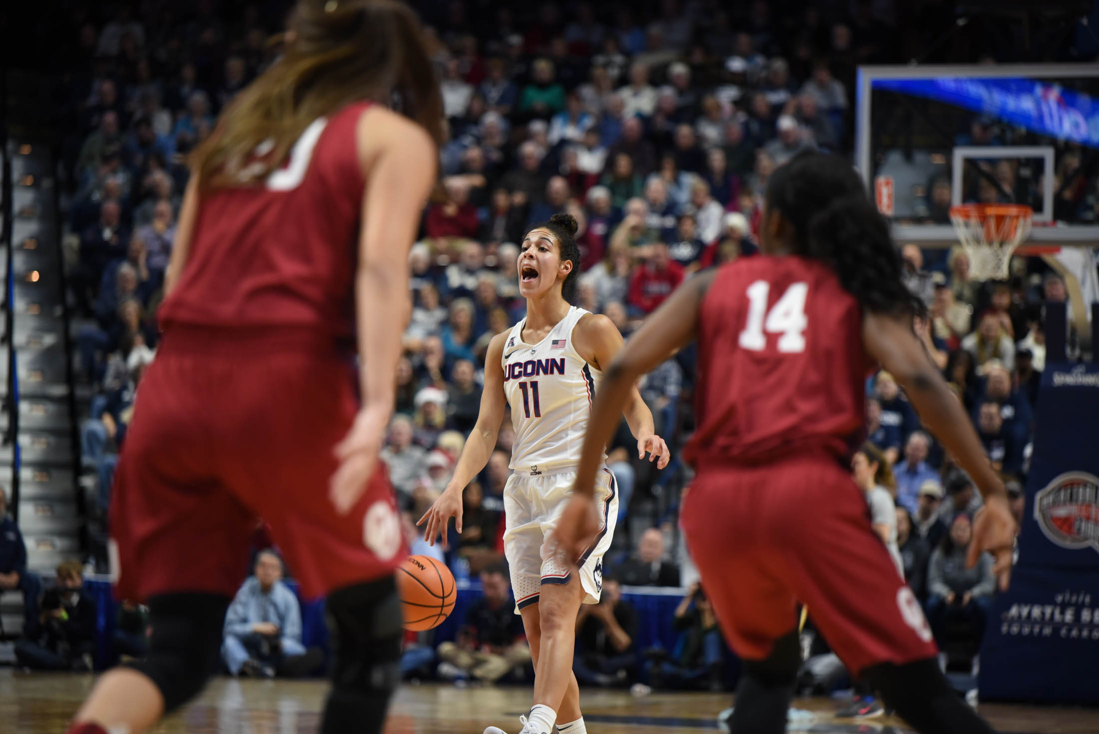 Kia Nurse calls out a play to her teammates during the second half of the game. (Charlotte Lao/The Daily Campus)