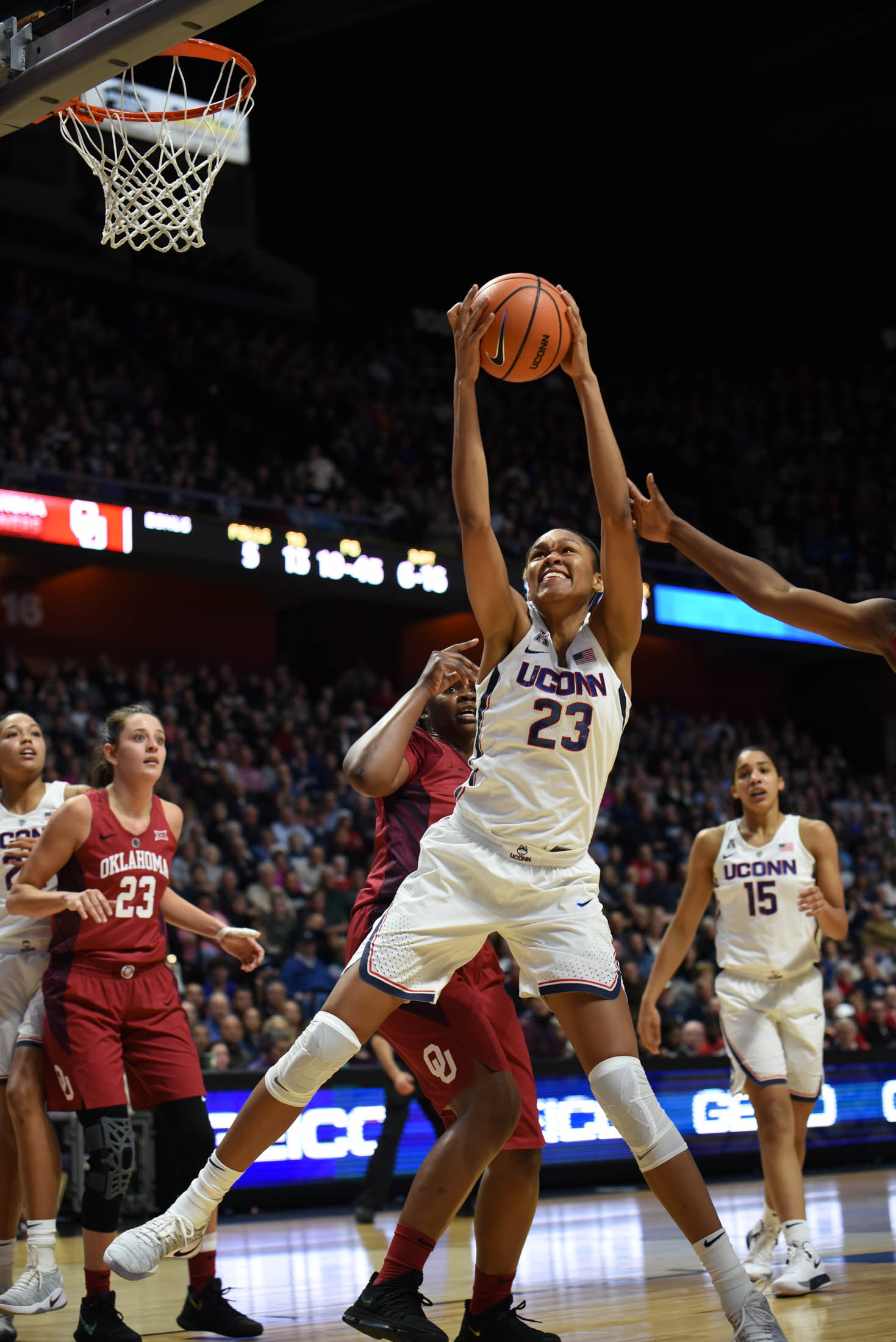 Azurá Stevens goes up for an offensive rebound against Oklahoma. She finishes the game with 20 points. (Charlotte Lao/The Daily Campus)