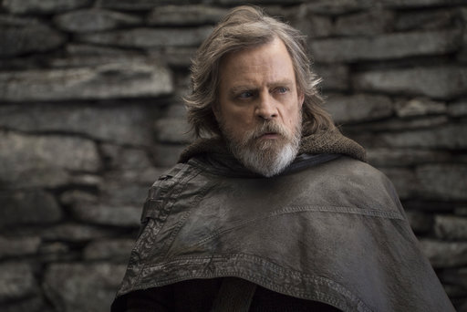 "This file image released by Lucasfilm shows Mark Hamill as Luke Skywalker in ""Star Wars: The Last Jedi."" After two consecutive record-breaking years at the domestic box office, 2017 was the year the momentum slowed, even with the late adrenaline boost of a new ""Star Wars"" film. (John Wilson/Lucasfilm via AP, File)"