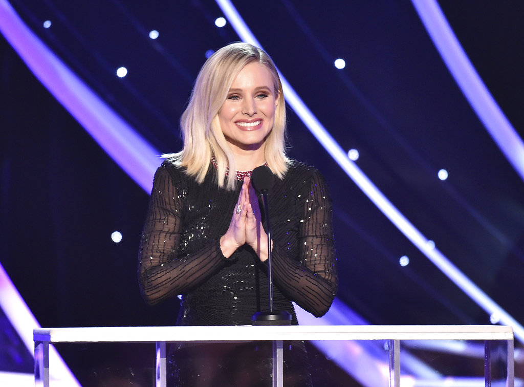Host Kristen Bell speaks on stage at the 24th annual Screen Actors Guild Awards at the Shrine Auditorium & Expo Hall on Sunday, Jan. 21, 2018, in Los Angeles.(Photo by Vince Bucci/Invision/AP)