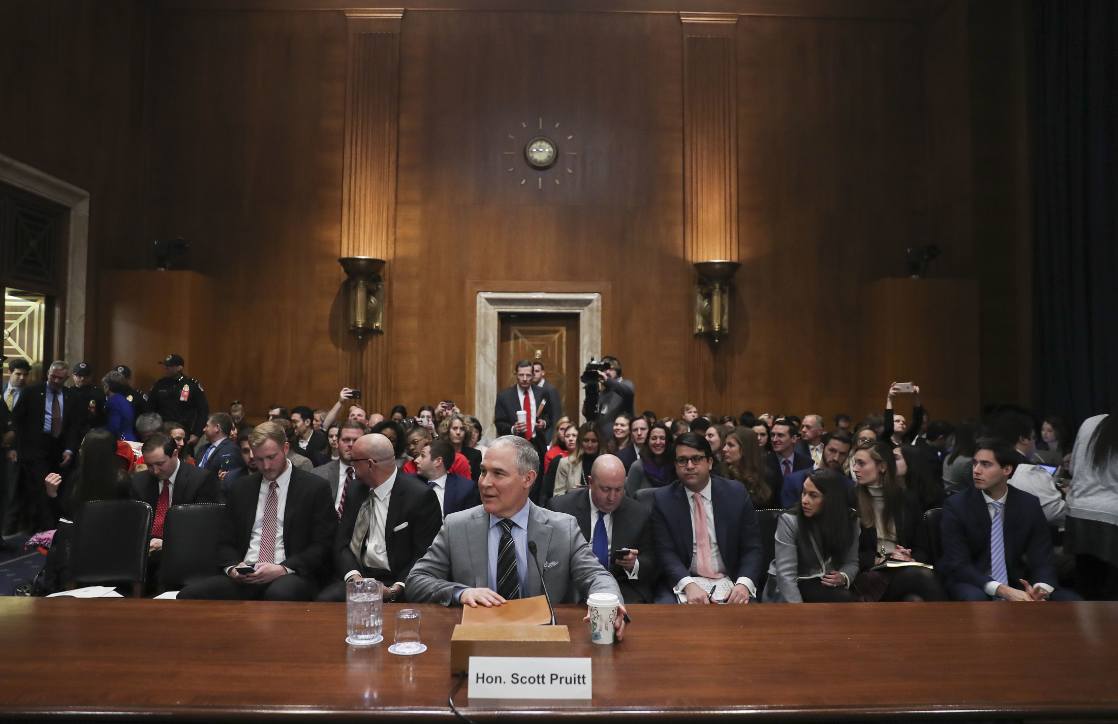 Environmental Protection Agency Administrator Scott Pruitt testifies before the Senate Environment Committee on Capitol Hill in Washington, Tuesday, Jan. 30, 2018. (Pablo Martinez Monsivais/AP)