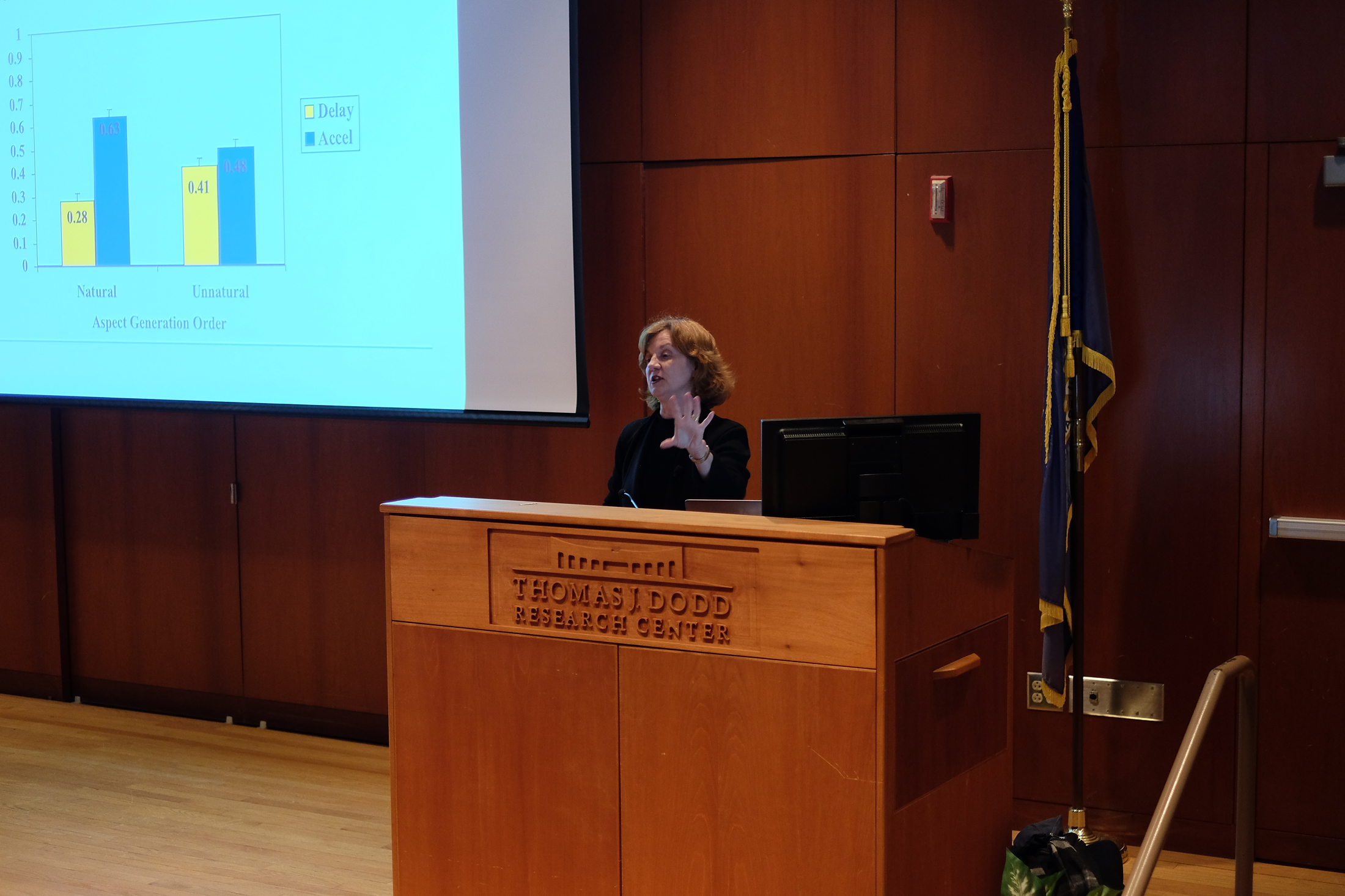 Guest speaker Dr. Elke U. Weber presents on the statistics and the future of the environment and our species as a whole in the Dodd Center on Wednesday, Feb. 1, as a part of UConn's Edwin Way Teale Lecture Series. (Jon Sammis/The Daily Campus)