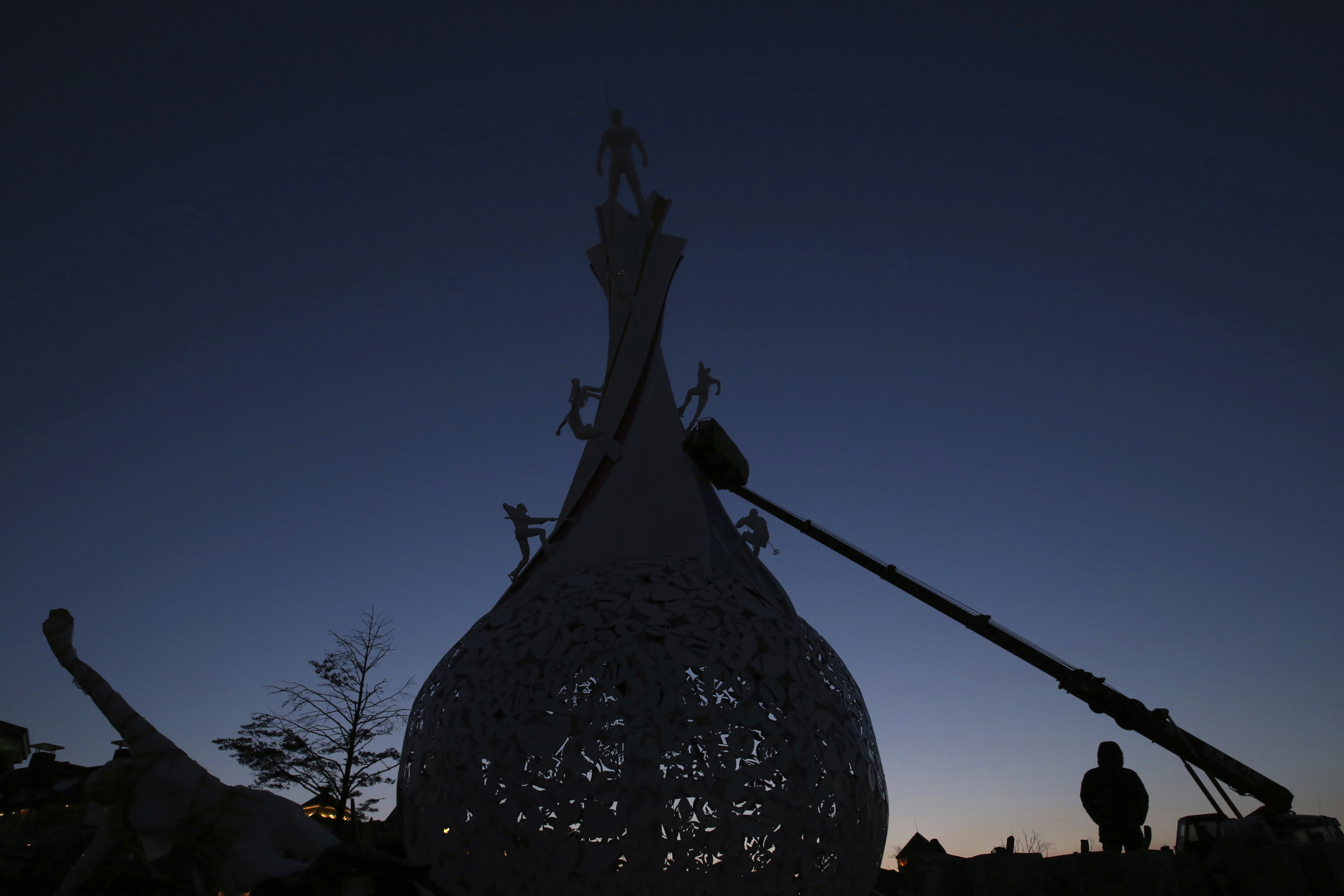 Workers continue building the Pyeongchang 2018 Symbolic Monument ahead of the 2018 Winter Olympics in Pyeongchang, South Korea, Tuesday, Feb. 6, 2018. (Aaron Favila/AP)