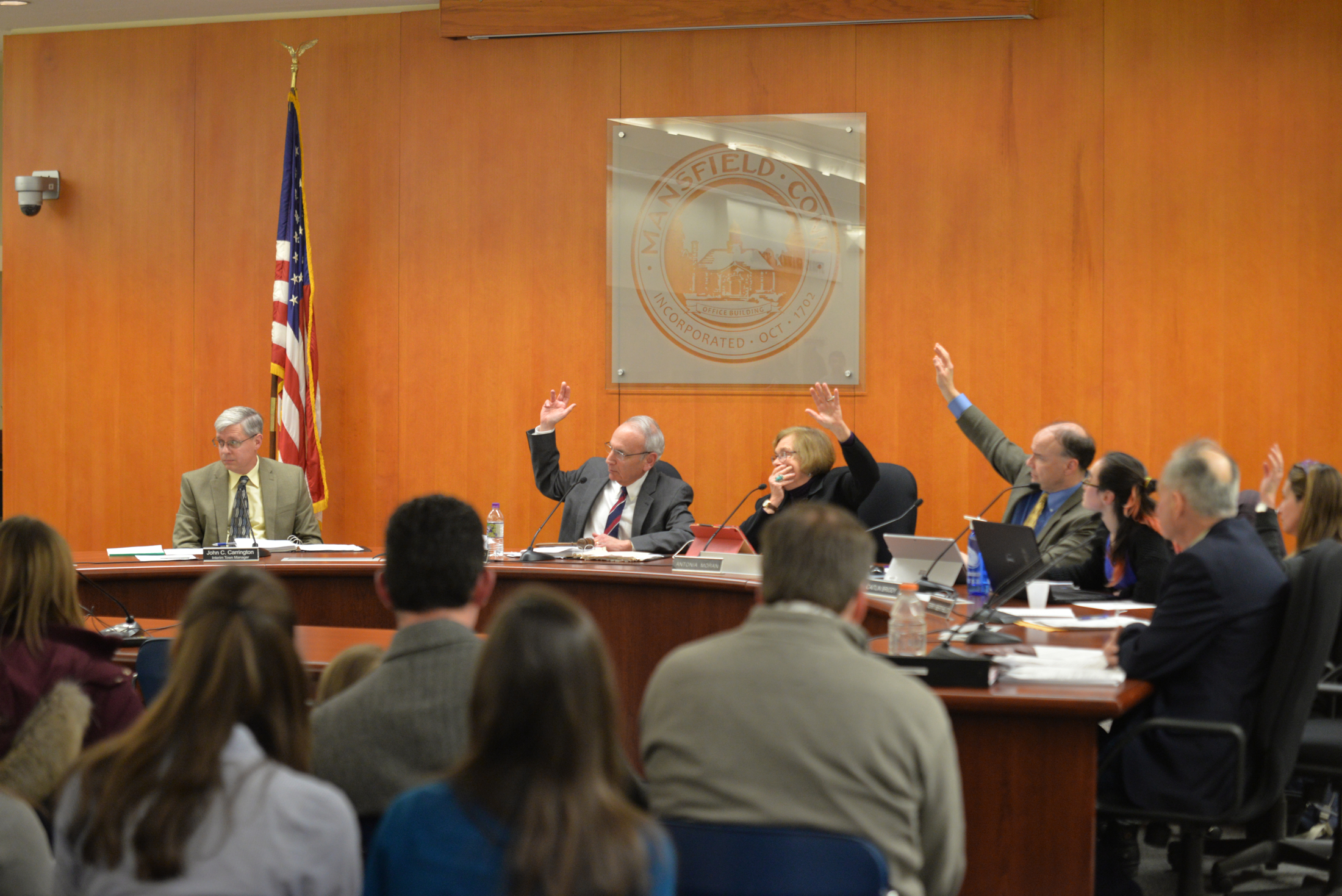 The Mansfield Town Council votes to not add Ric Hossack after a divisive debate and public comment section in Mansfield Town Hall on Tuesday evening. A Republican seat is open on the council after Charles J. Ausburger vacated his seat due to medical reasons. (Amar Batra/The Daily Campus)