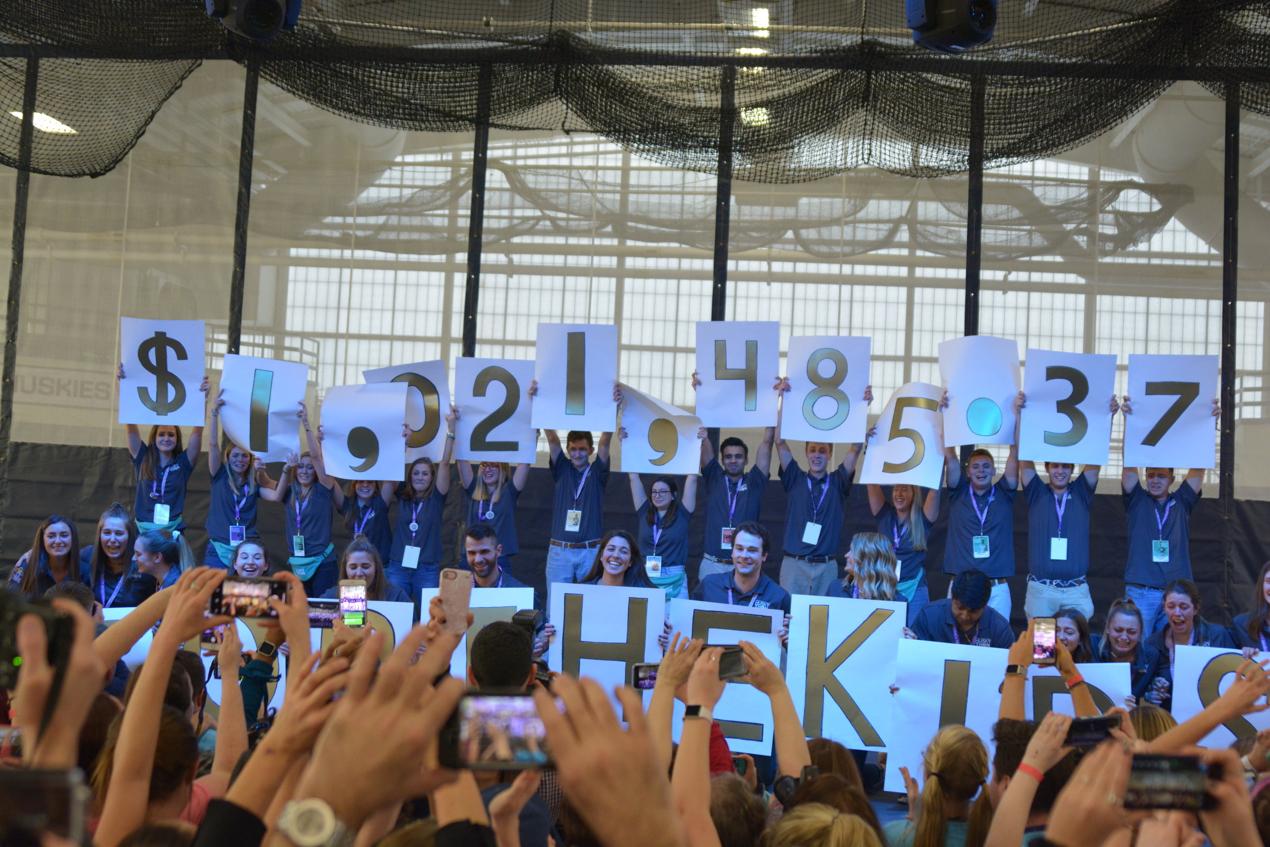 After working all year to fundraise, with a final push towards the end of the event, the grand total raised for 2018's HuskyTHON was $1,021,485.37. (Nicholas Hampton/The Daily Campus)