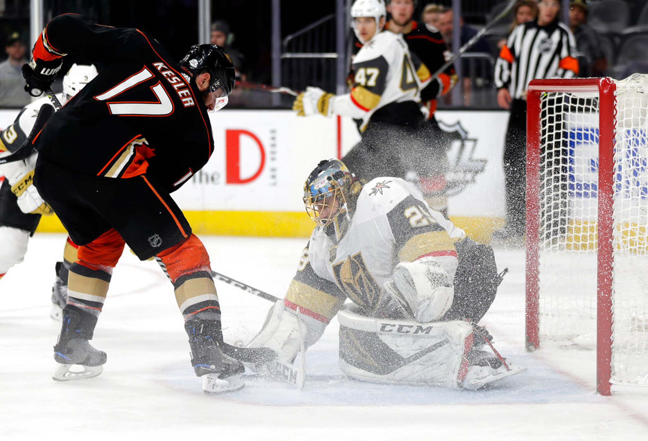 Vegas Golden Knights goalie Marc-Andre Fleury stops a shot from Anaheim Ducks center Ryan Kesleduring the third period of an NHL hockey game Monday, Feb. 19, 2018, in Las Vegas. Anaheim won, 2-0. (AP Photo/Isaac Brekken)