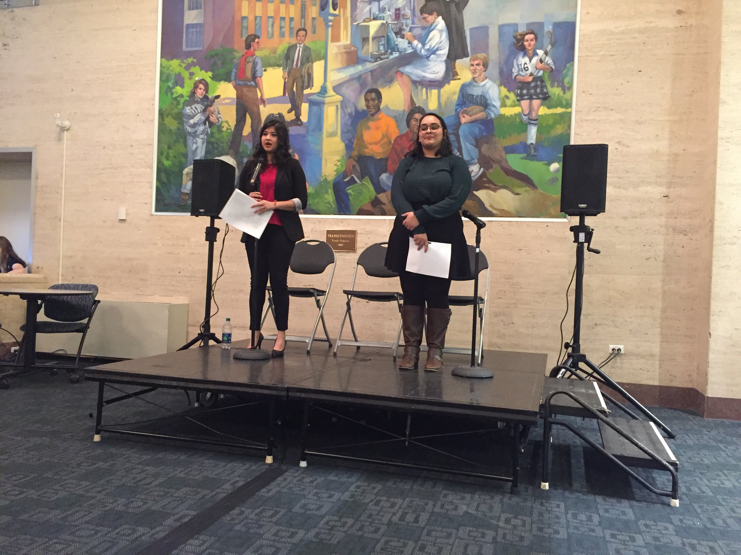 Both Richa Jain and Priyanka Thakkar, another comptroller candidate and Vice Chair of the USG Outreach Committee, shared policy objectives of curbing excessive USG spending in order to make more funding available for student groups.(Anna Zarra Aldrich/The Daily Campus)