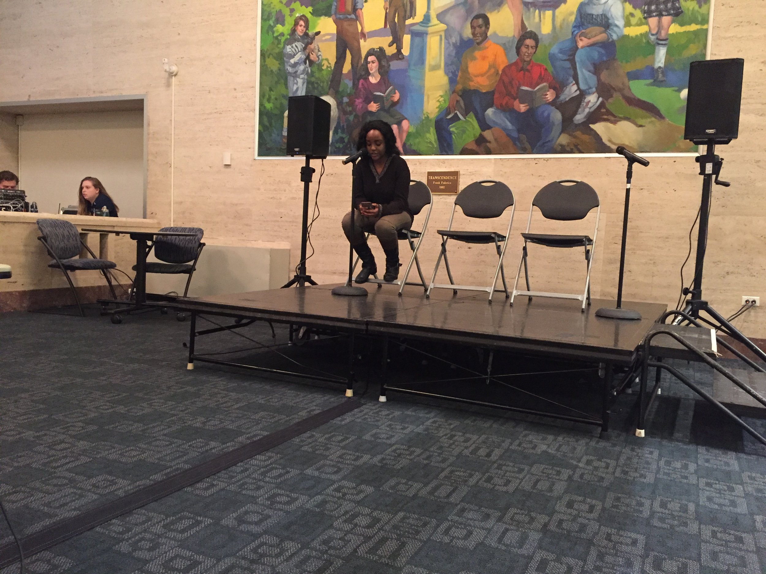 """""""Even though we're unopposed this term, we want to make sure that the UConn student body is (out here caring) and motivated,"""" Gatheru said. (Anna Zarra Aldrich/The Daily Campus)"""