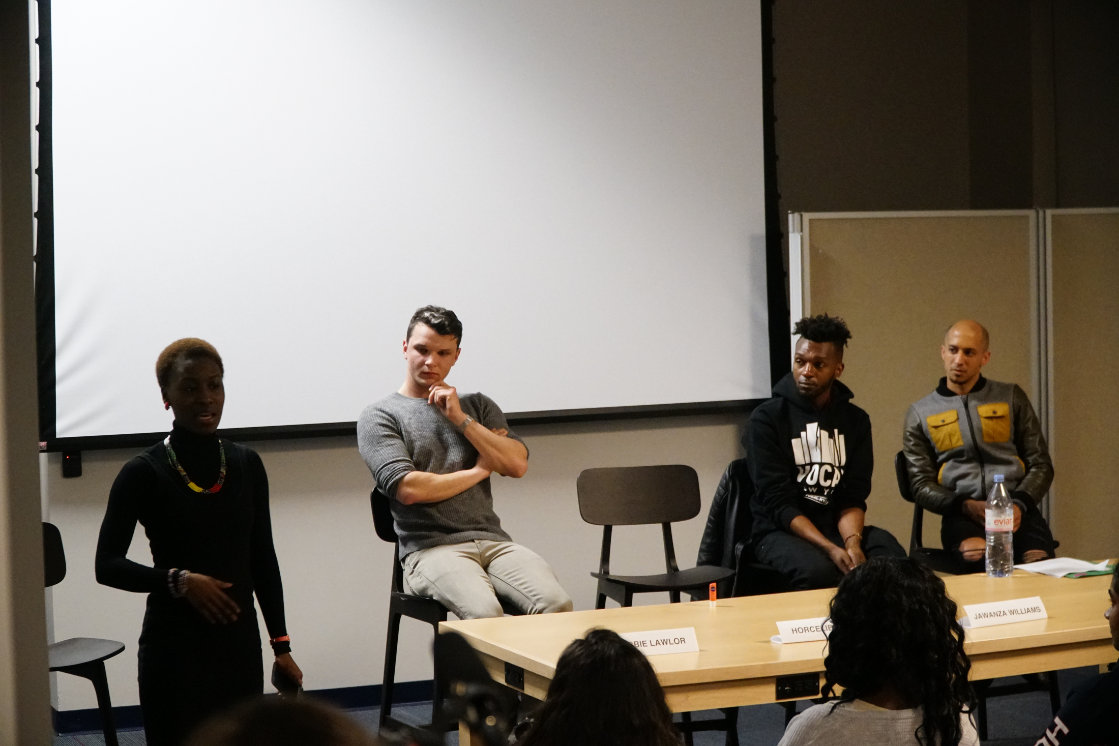 """HIV positive speakers from the UK give a lecture titled """"Youth Ends AIDS"""" in the UConn Bookstore on Tuesday, Feb. 21, 2018. The groups aim is to have zero new HIV infections. (Eric Wang/The Daily Campus)"""