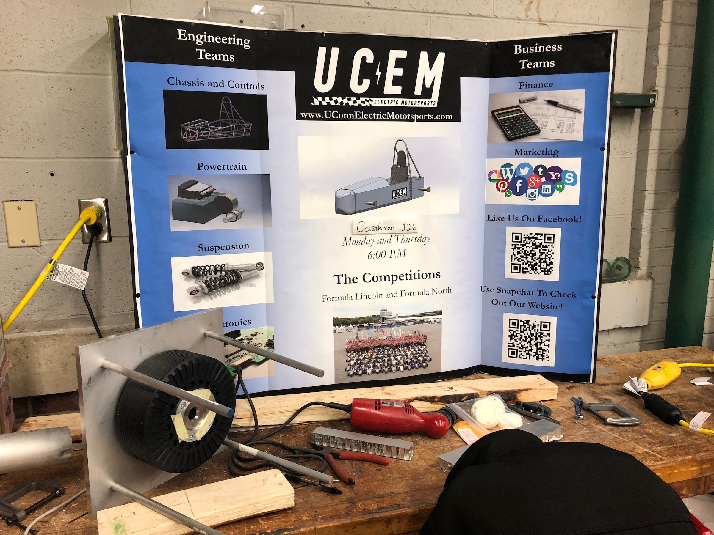 The new University of Connecticut electric motorsports (UCEM) club is constructing an electric race car which will feature a single seat and single motor with an aluminum honeycomb body. (Collin Sitz/The Daily Campus)
