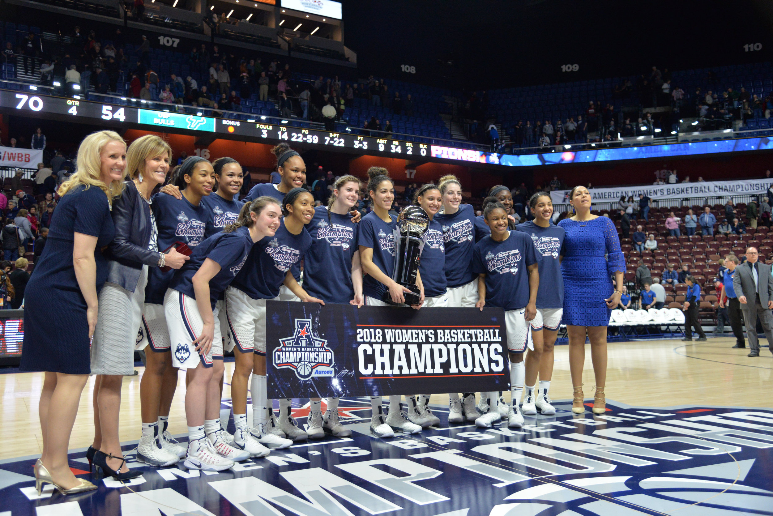 To win the American Athletic Conference Championship, the UConn women's basketball team had to play USF in the final for the fourth consecutive season. (Amar Batra/The Daily Campus)