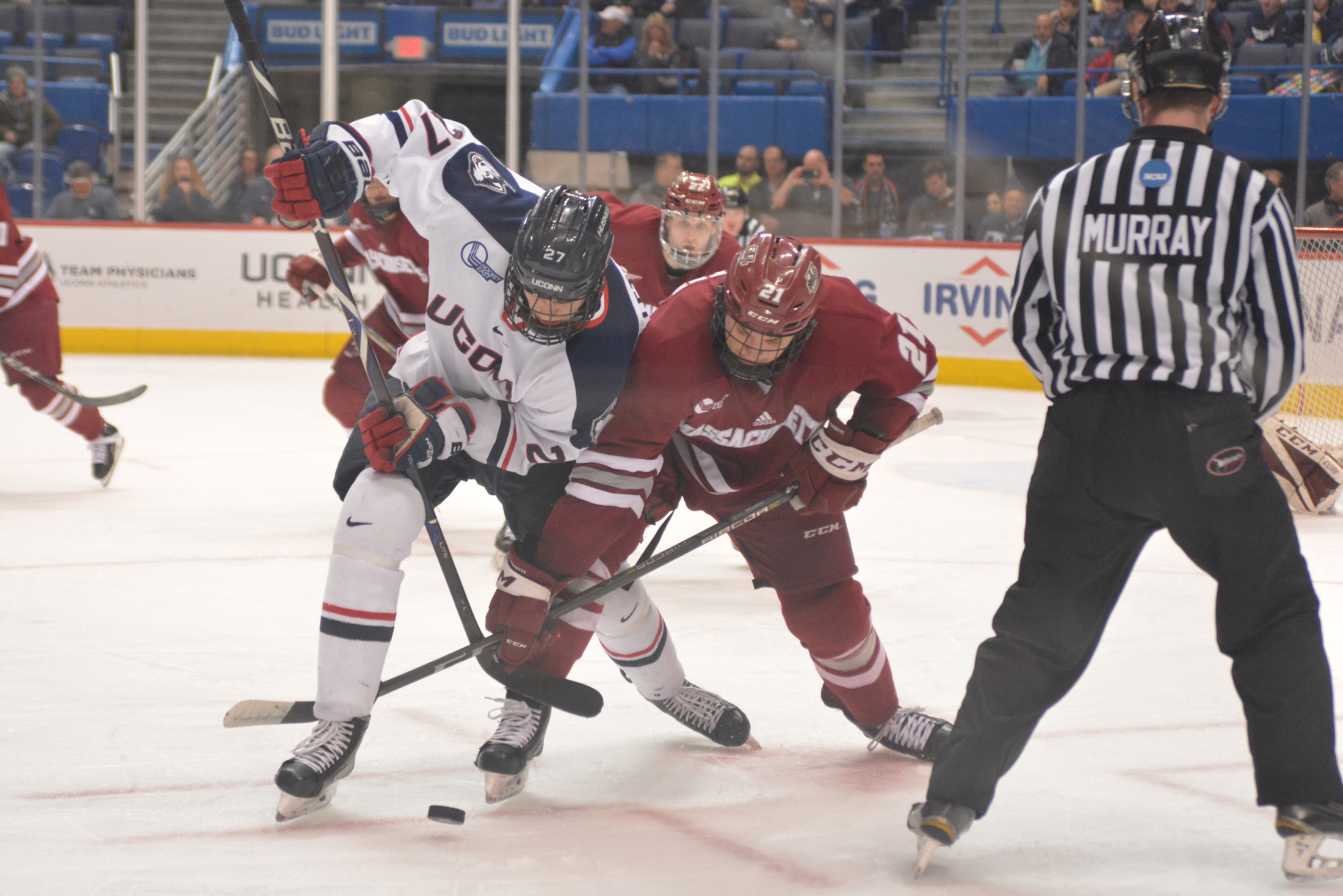 UConn Men's Hockey plays against UMass in the XL Center Thursday night. The Minutemen defeated the Huskies 3-2. Spencer Naas scored the first goal in period one and Jesse Schwartz scored the second goal in period three. (Nicholas Hampton/The Daily Campus)