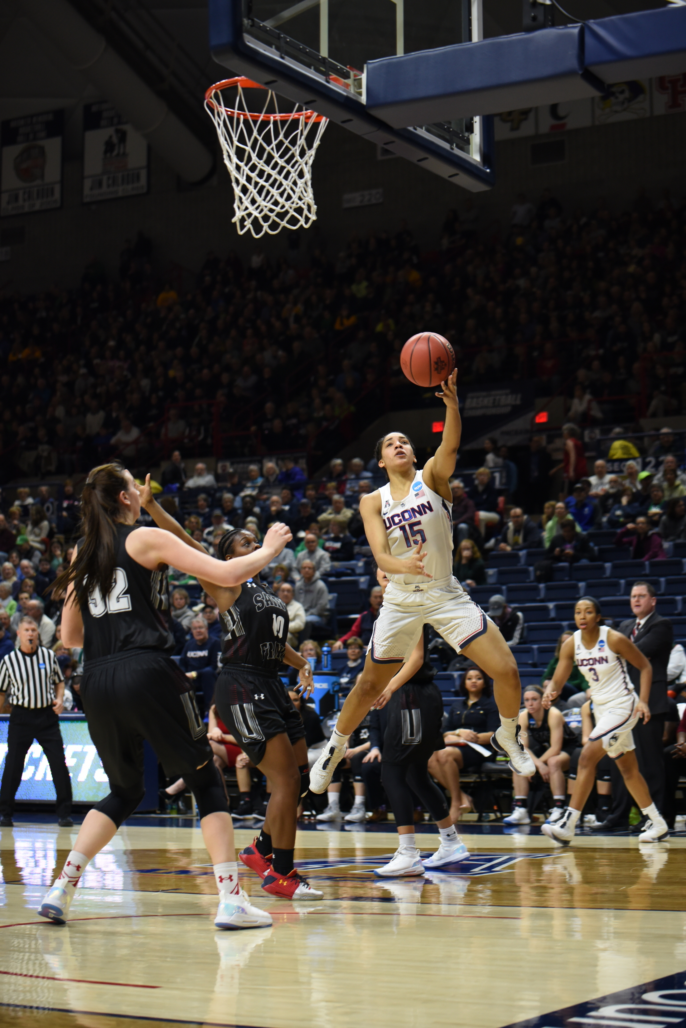 The Huskies make records as they defeat the Red Flash 140-52 on March 17,2018 for the first round of the NCAA tournament. They will be hosting Quinnipiac on Monday, March 19, 2018 at 6:30 for the second round (Charlotte Lao/The Daily Campus)