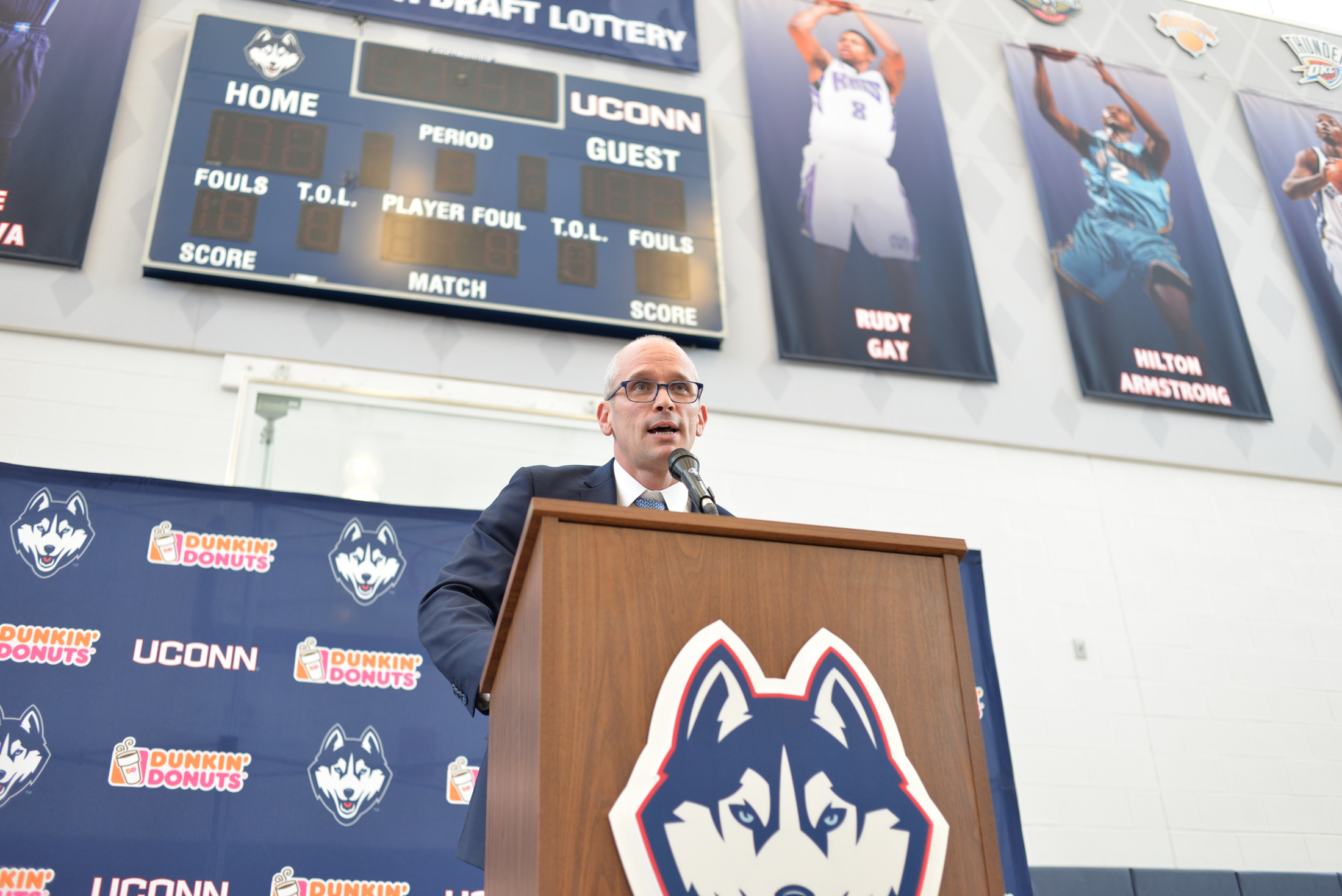 New UConn head coach Dan Hurley speaks at his introductory press conference Friday afternoon at the Werth Family Champions Center. (Amar Batra/The Daily Campus)