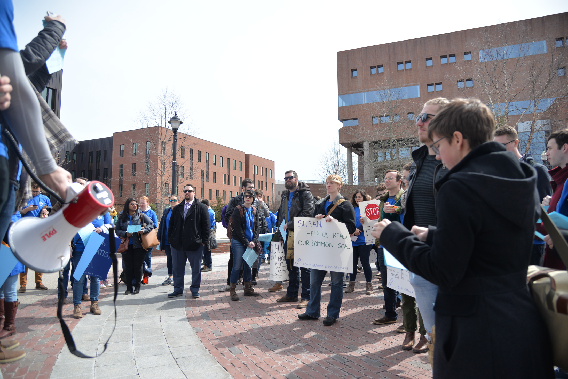 The University of Connecticut Graduate Employee Union (GEU) holds a rally and sits in on President Susan Herbst's office hours on Tuesday to protest additional bargaining time, equity and gender inclusivity and fee increases. (Amar Batra/The Daily Campus)