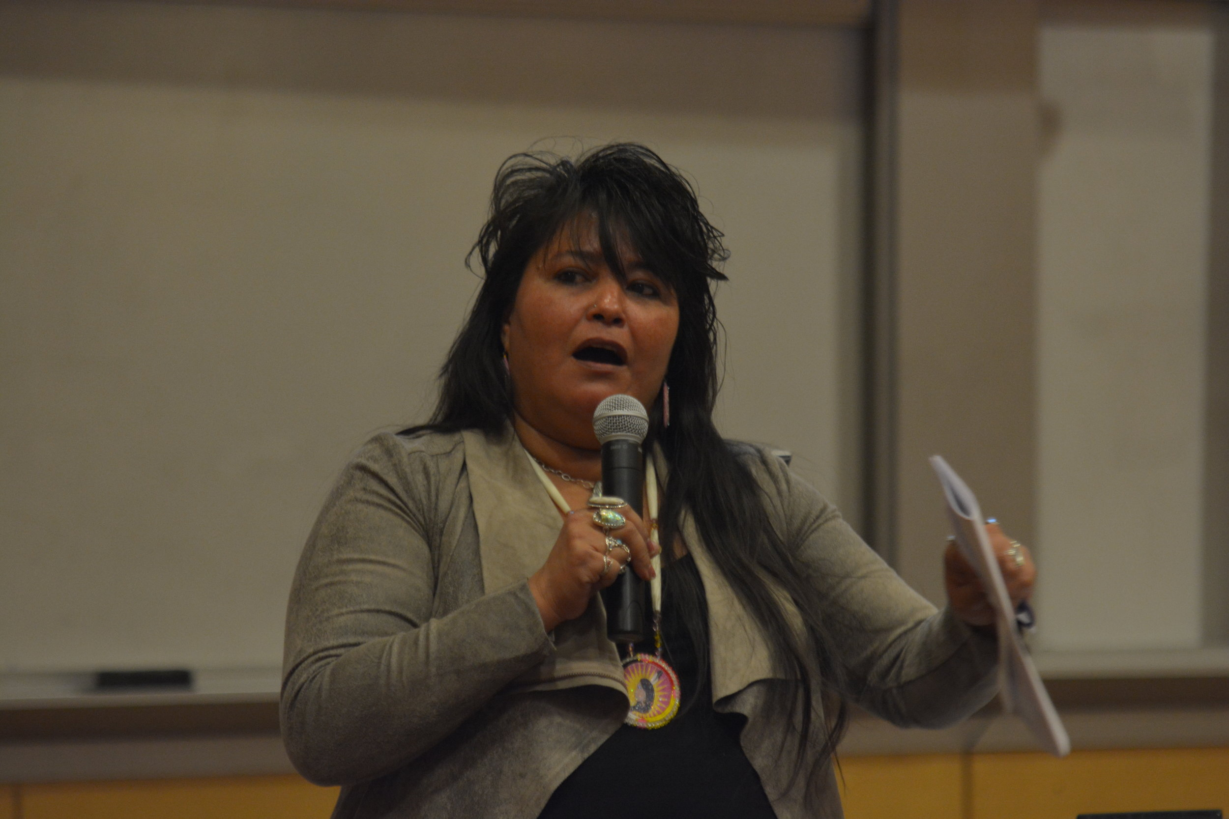Faith Gemmill speaks about her Alaskan tribe fighting human rights violations and how the global changes are impacting the northern lands they live on. The keynote speaker was part of the semester long Environmental Metanoia event. (Nick Hampton/The Daily Campus)
