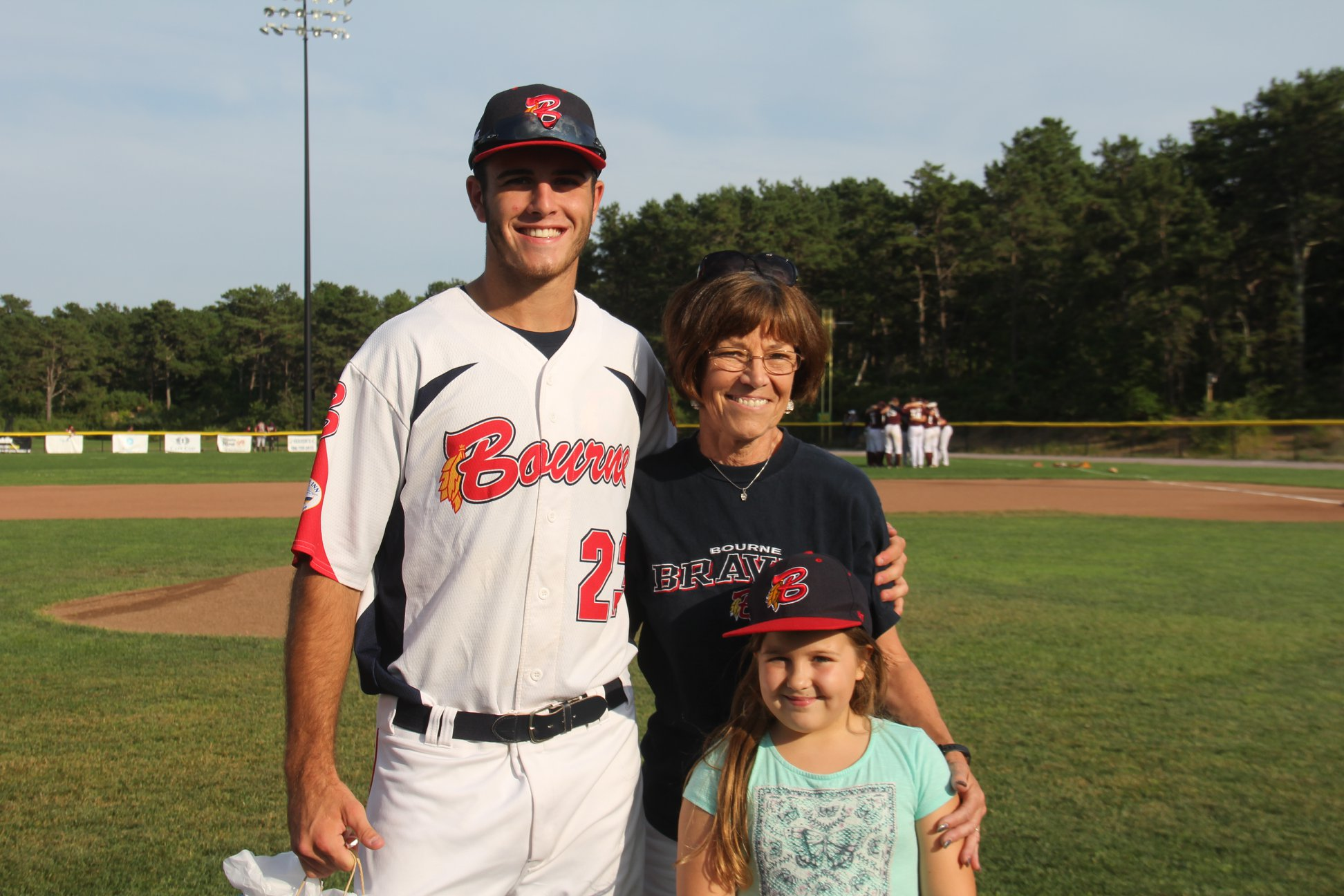 UConn and Bourne infielder Anthony Prato with his host family on Host Family Appreciation Night in the Cape Cod Baseball League (Bourne Braves on Facebook)