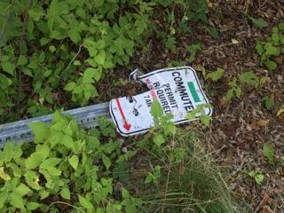 A removed Commuter Permit Sign at Horsebarn Hill. (Marlese Lessing/The Daily Campus)