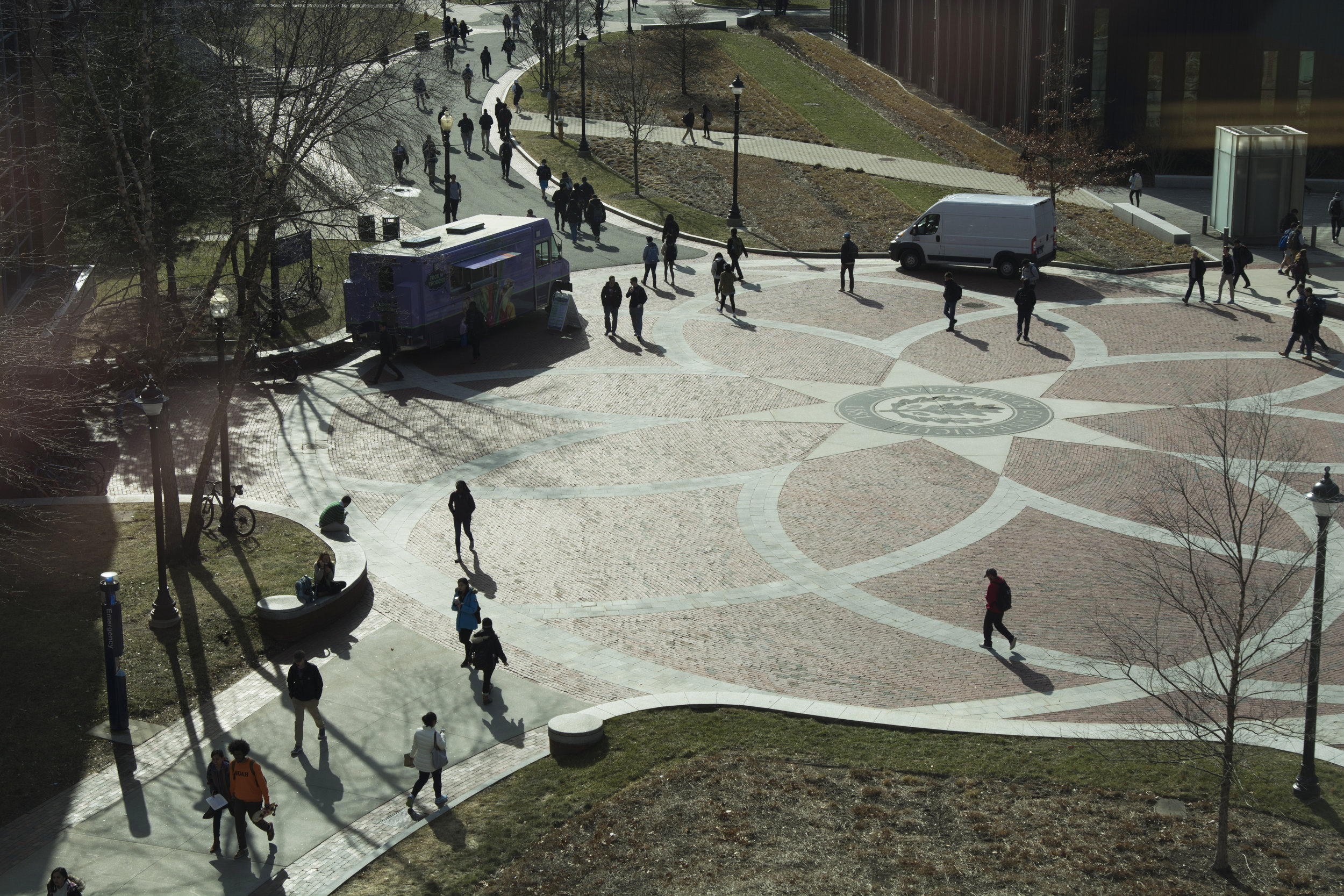 File- UConn students walk down the center of Fairfield Way (Nicholas Hampton/ The Daily Campus)