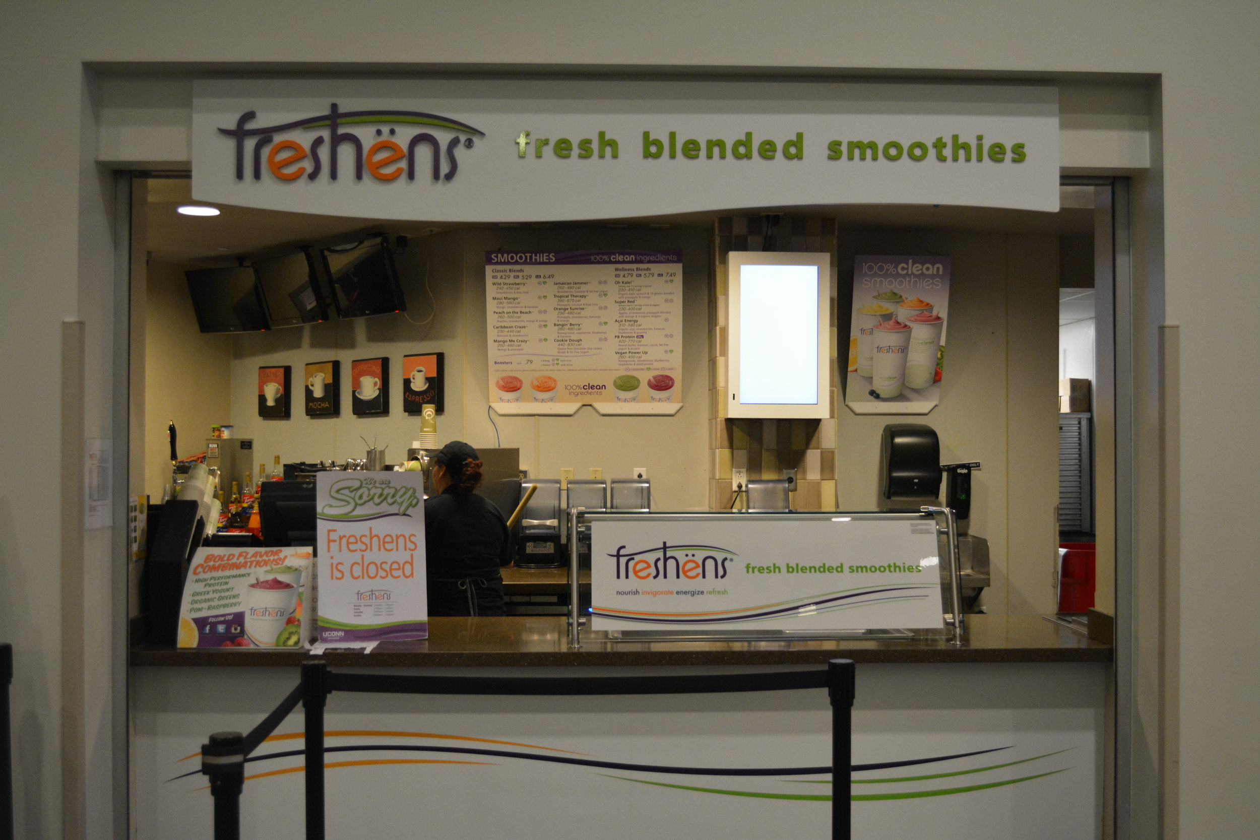 Freshens is a smoothie place at the Union that accepts points. They offer a variety of flavors from fruit flavors to peanut butter. (Photo by Chloe Gu)