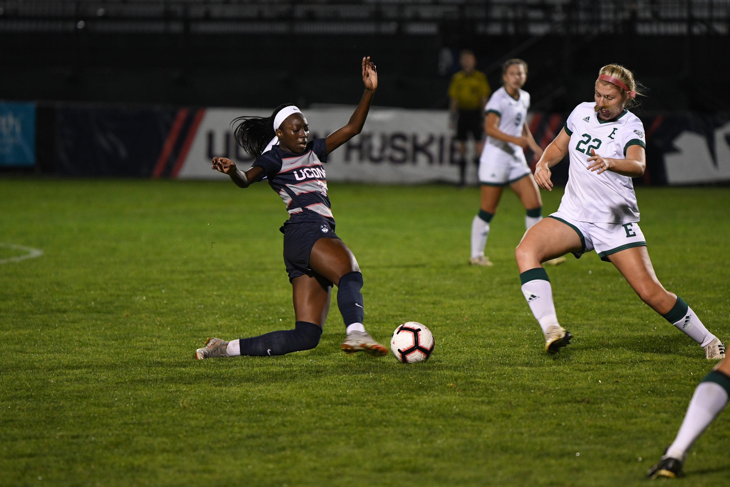 Yamilee Eveillard tries to keep the ball away from an Eastern Michigan defender during their match Sept. 14, 2018. (Nicholas Hampton/ The Daily Campus)