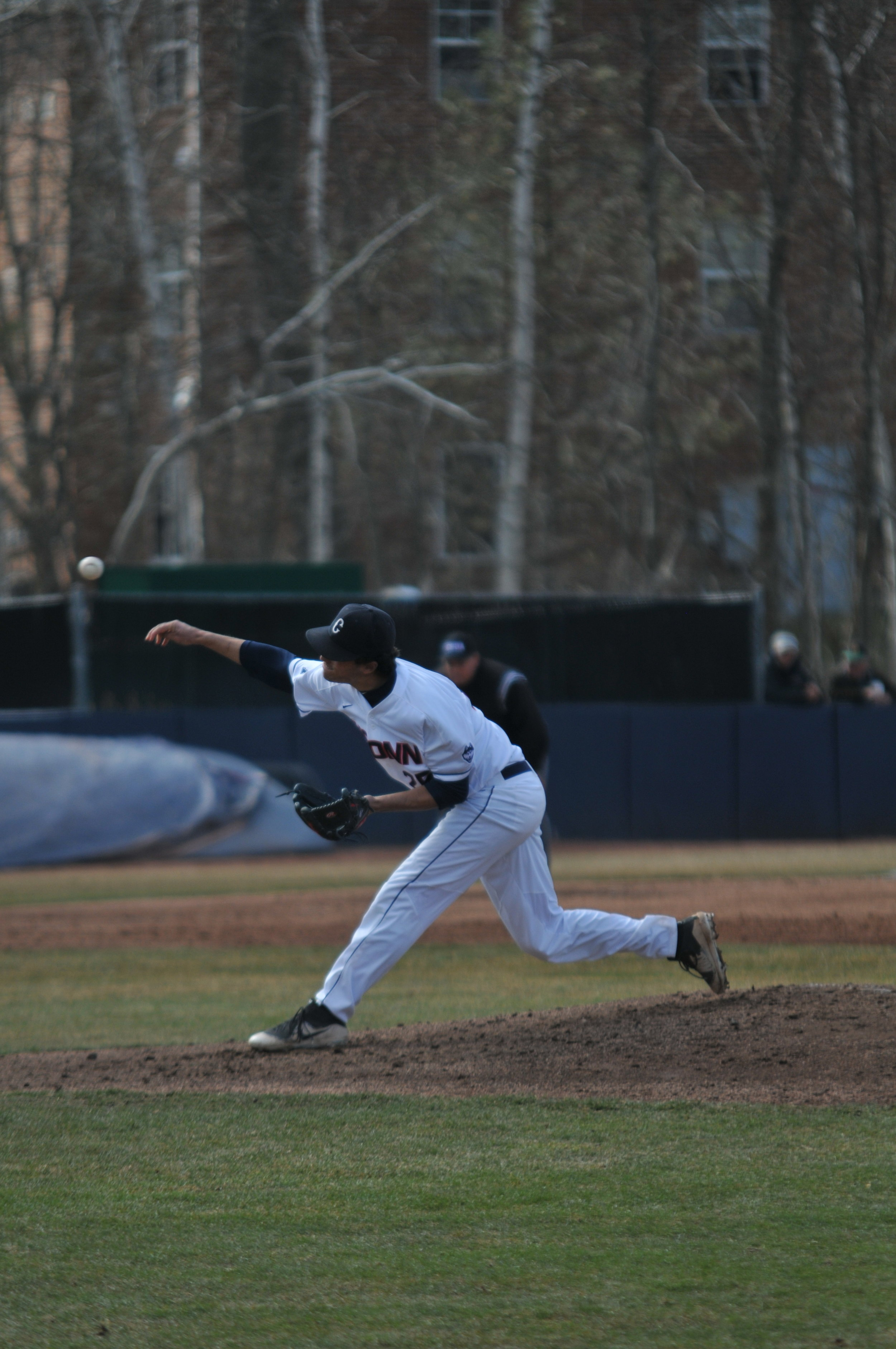 File- Pitcher Jeff Kersten works off the mound. (Eric Wang/ The Daily Campus)
