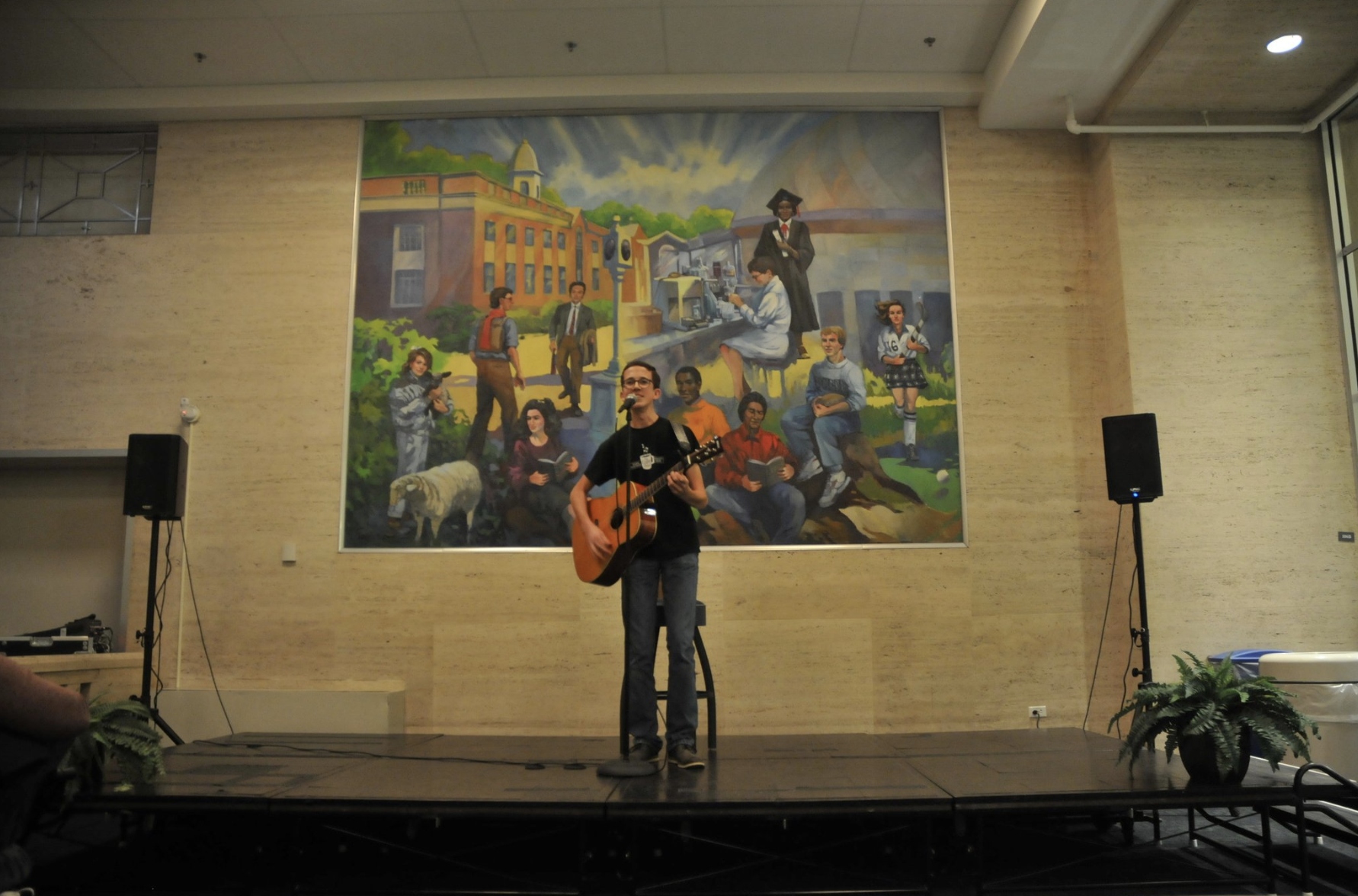 Students perform onstage during an 'Open Mic Night' put on by SUBOG. (File photo/The Daily Campus)